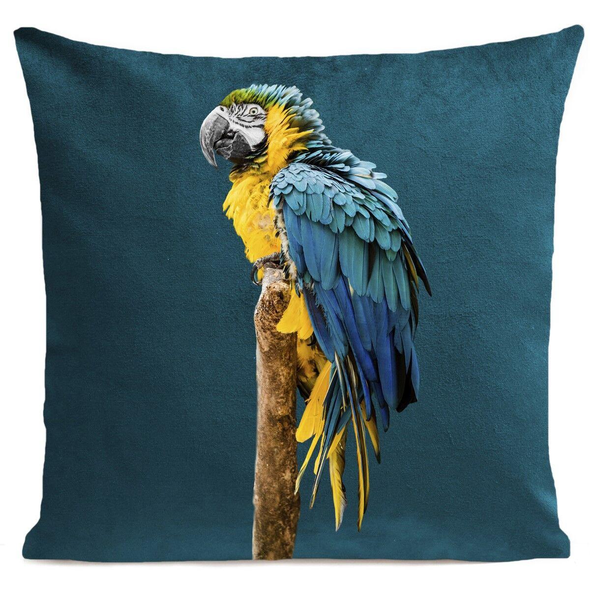 Artpilo Coussin velours carré imprimé animaux bleu canard 40x40