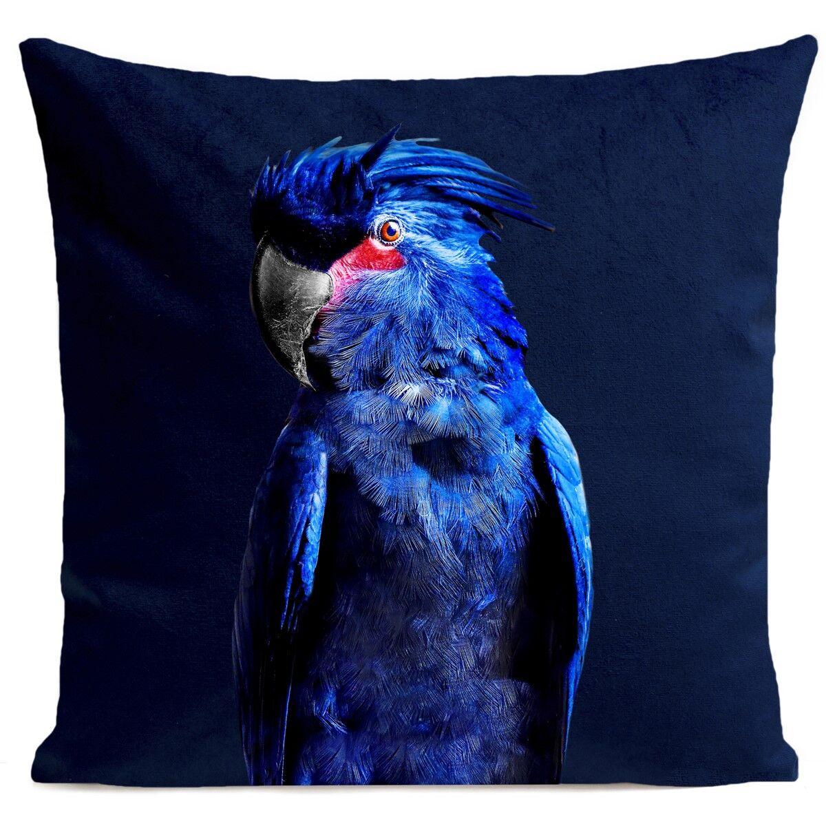 Artpilo Coussin velours carré imprimé animaux bleu foncé 40x40