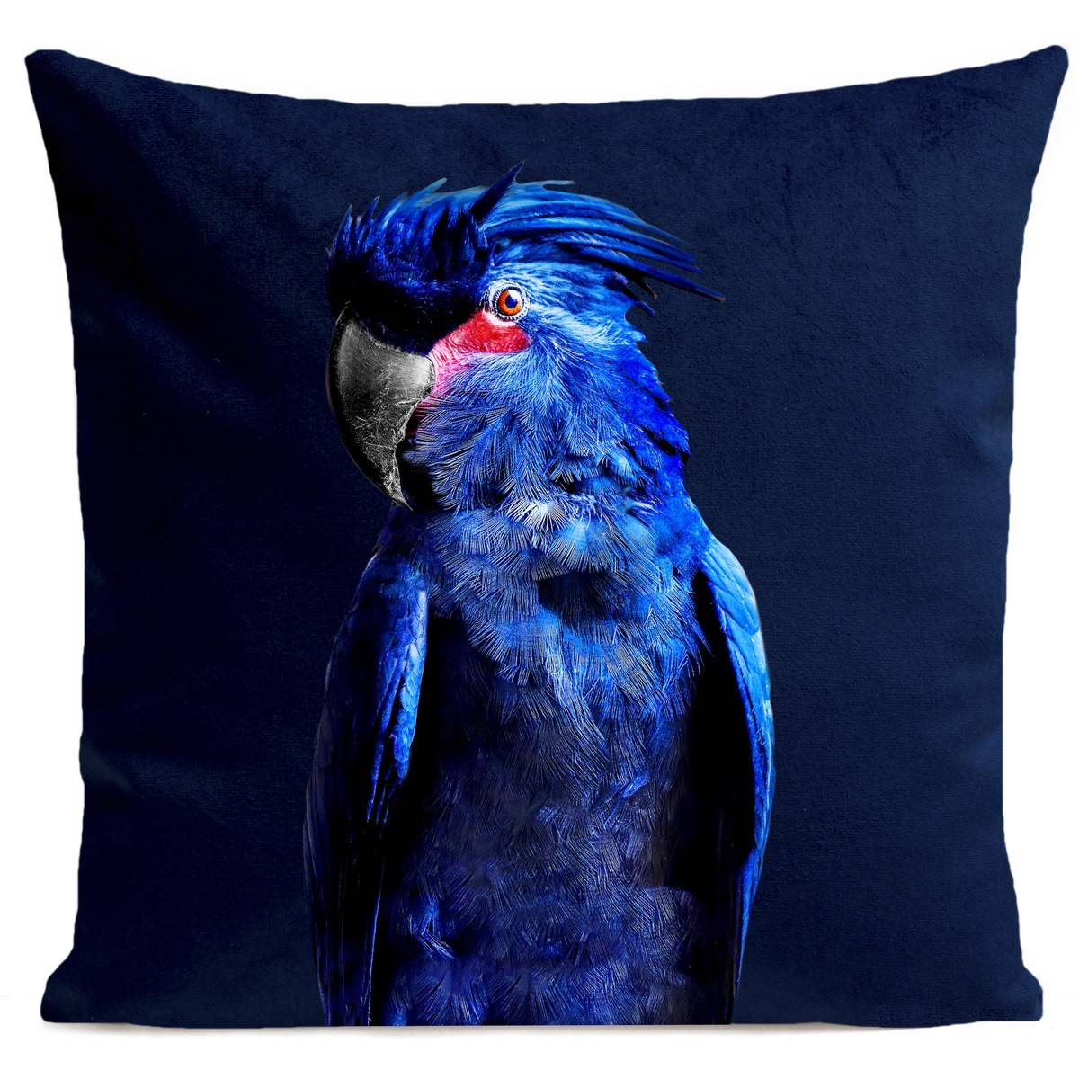 Artpilo Coussin velours carré imprimé animaux bleu foncé 60x60