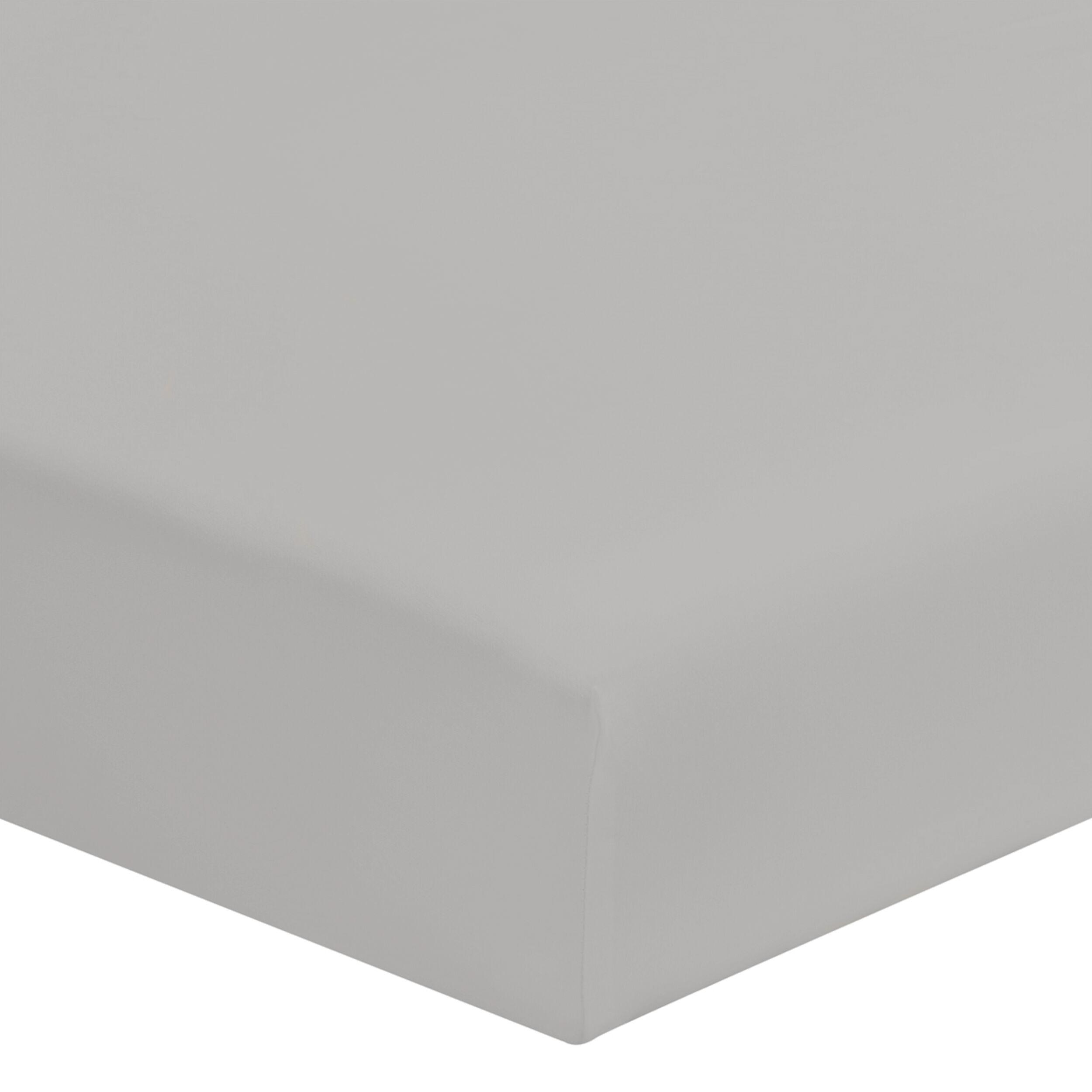 Origin Drap housse uni en coton Gris Mastic 160x200
