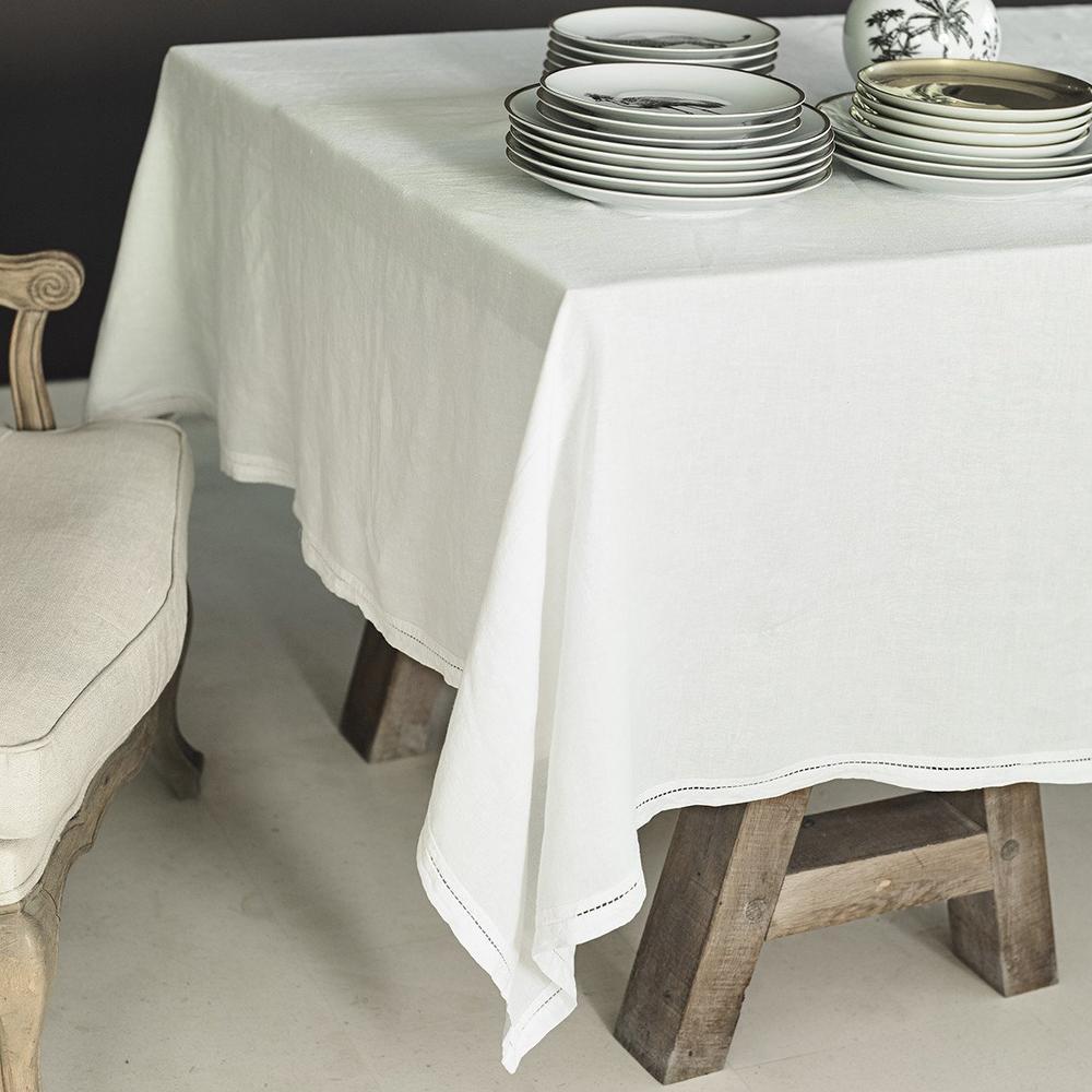 Lo de Manuela BASES DE LA TABLE - Nappe  Lin pur lavé Ivoire 160x250