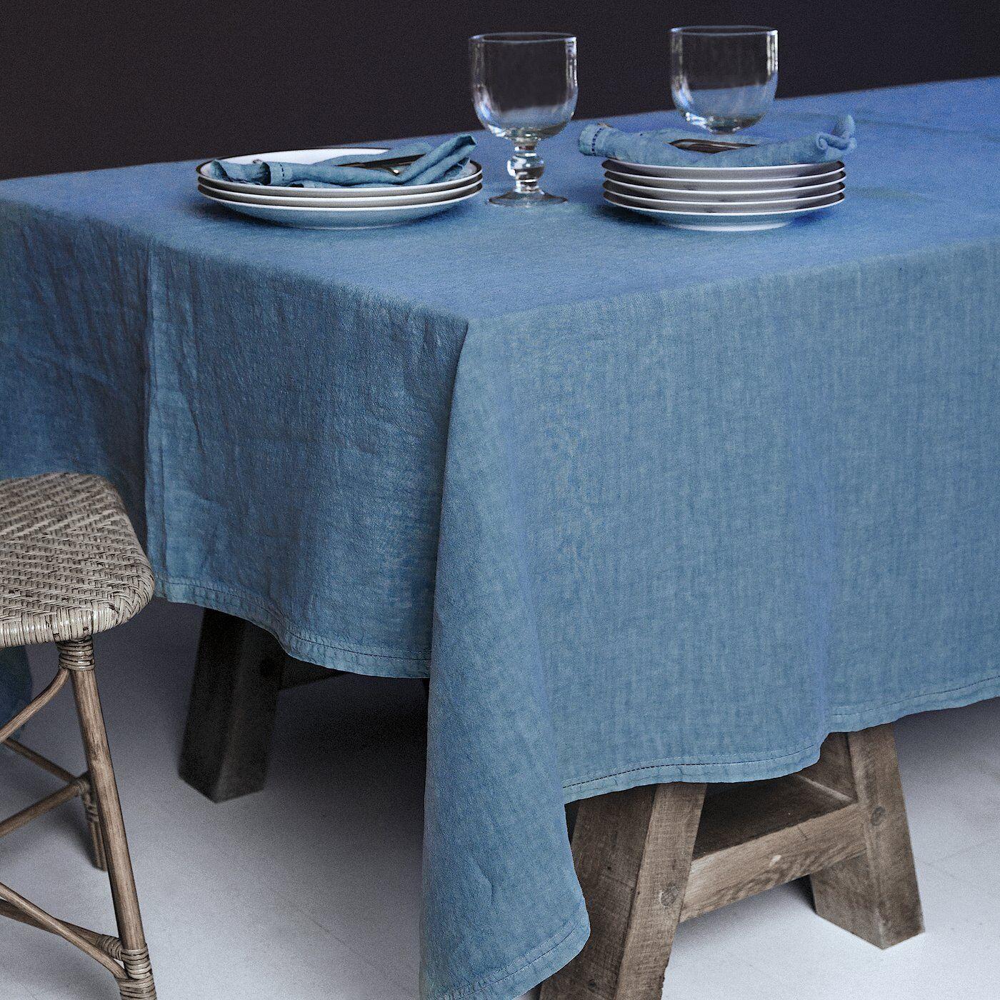 Lo de Manuela BASES DE LA TABLE - Nappe  Lin pur lavé Turquoise 160x250