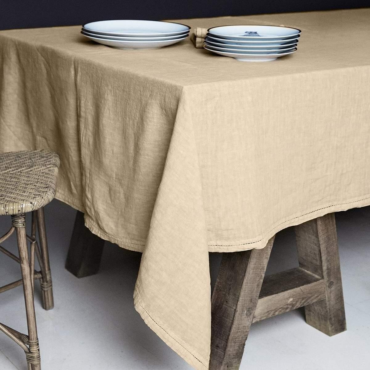 Lo de Manuela BASES DE LA TABLE - Nappe  Lin pur lavé Sable 160x250
