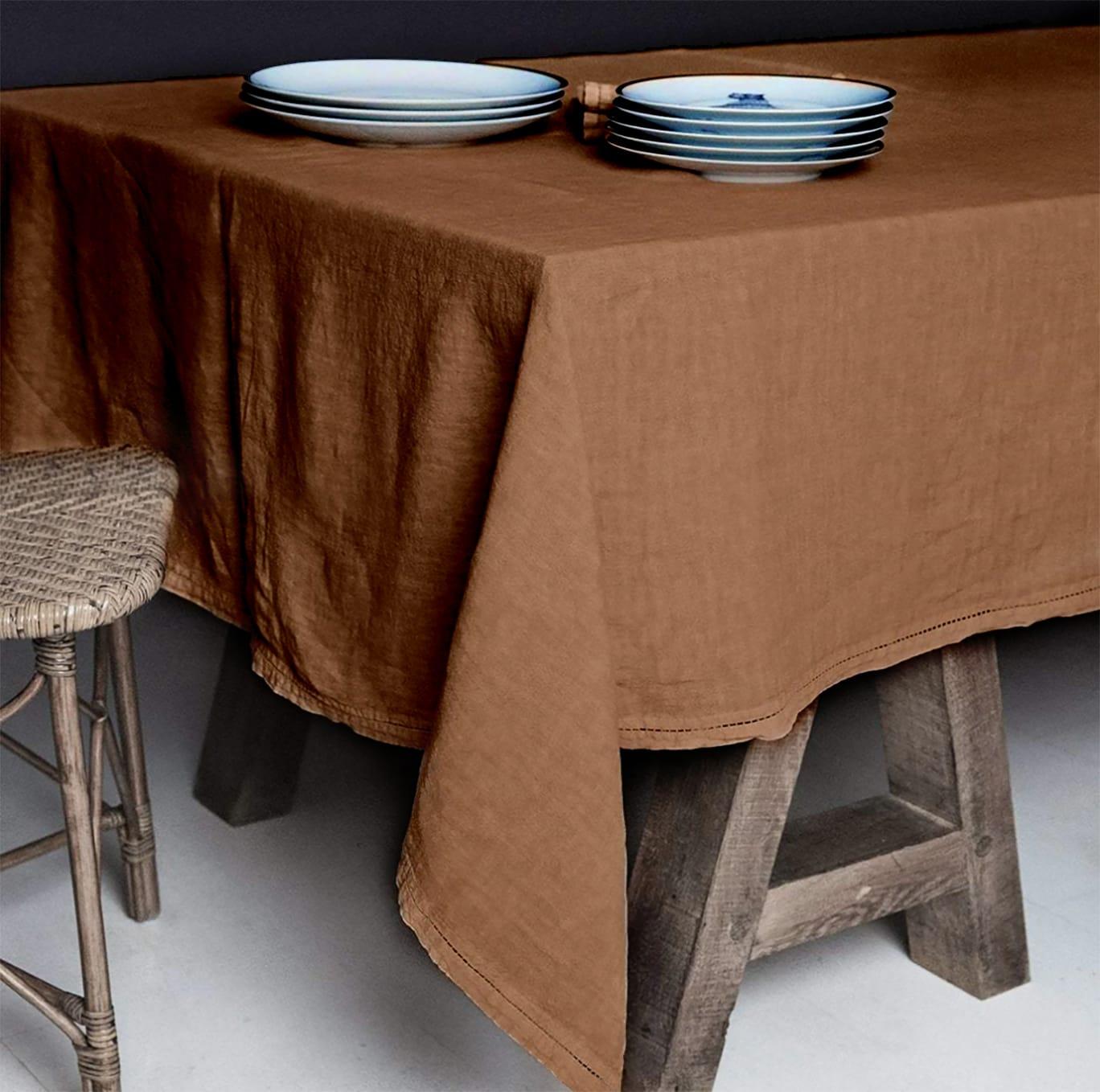 Lo de Manuela BASES DE LA TABLE - Nappe  Lin pur lavé Bronze 250x250