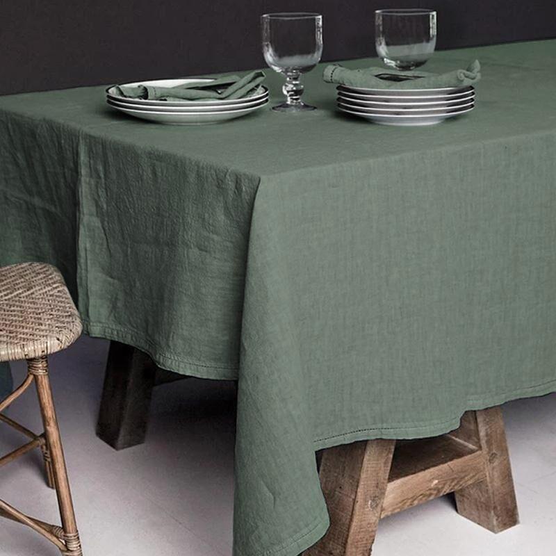 Lo de Manuela BASES DE LA TABLE - Nappe  Lin pur lavé Vert Acacia 250x250