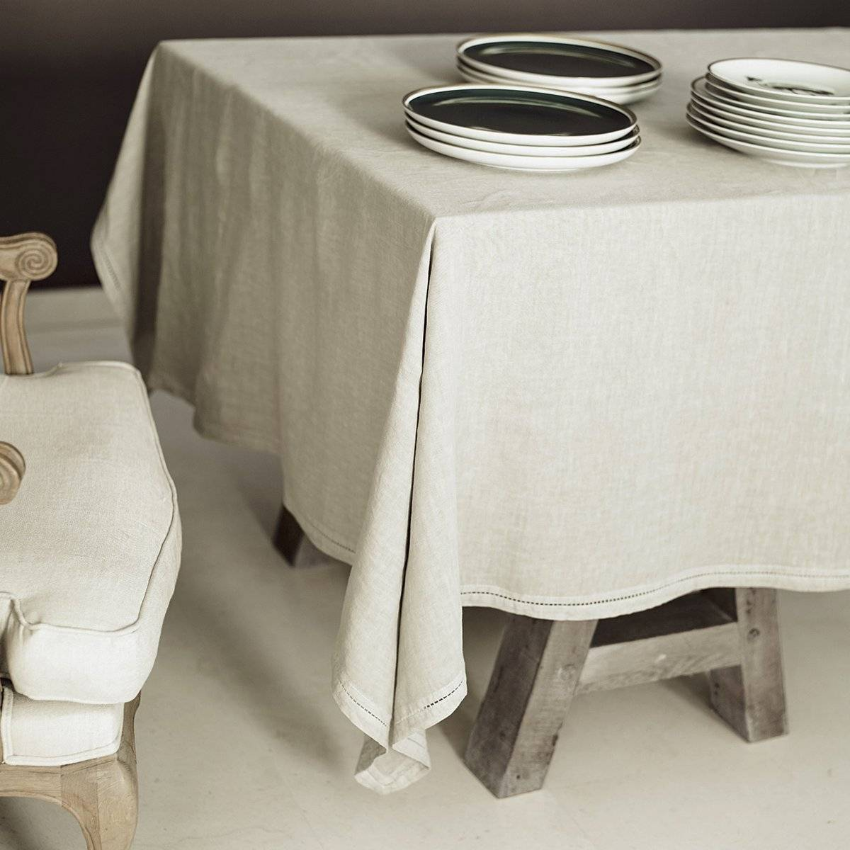 Lo de Manuela BASES DE LA TABLE - Nappe  Lin pur lavé Beige 180x300