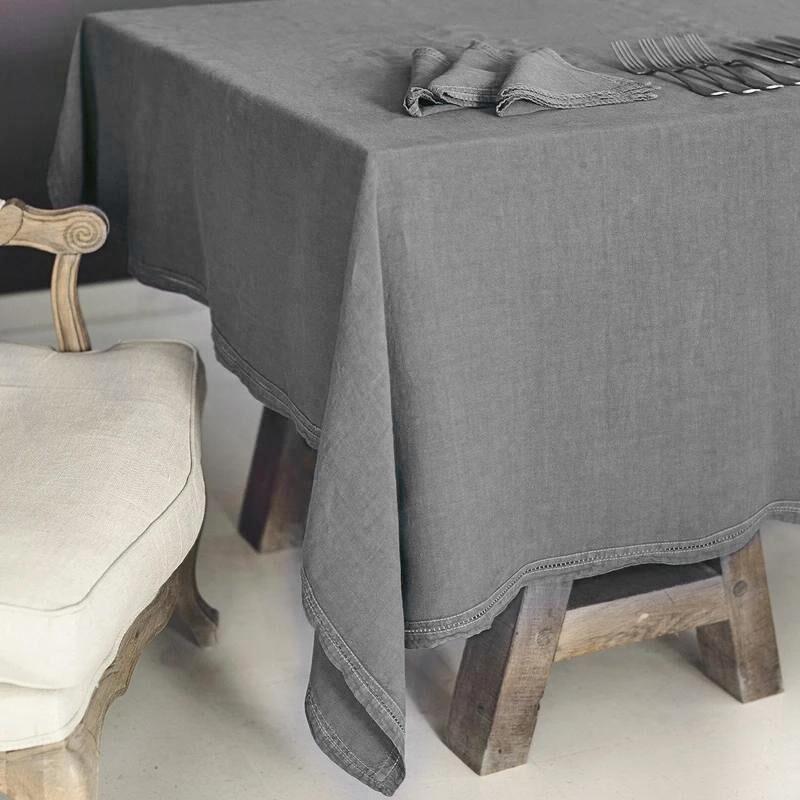 Lo de Manuela BASES DE LA TABLE - Nappe  Lin pur lavé Gris 160x250