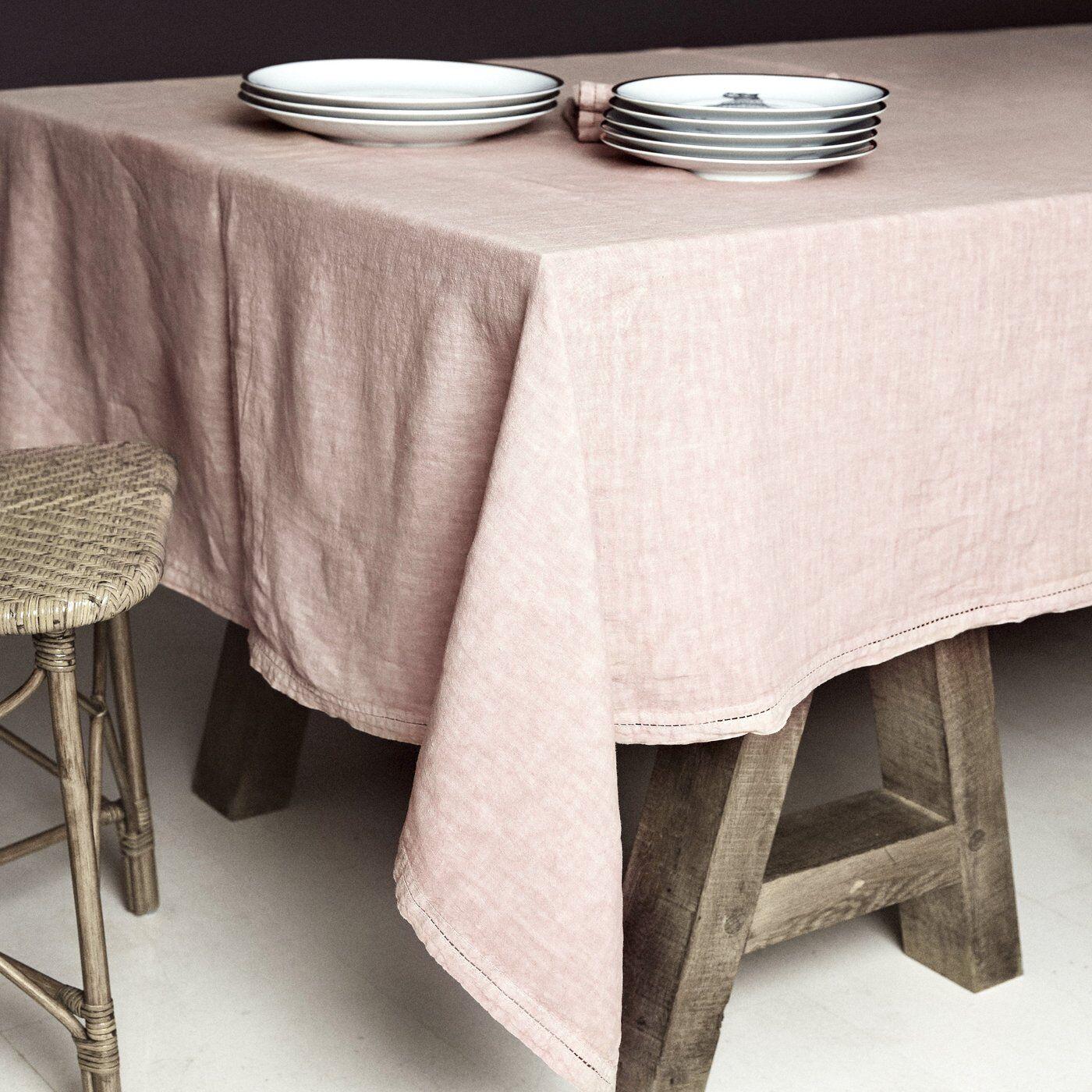 Lo de Manuela BASES DE LA TABLE - Nappe  Lin pur lavé Rose Pâle 180x300