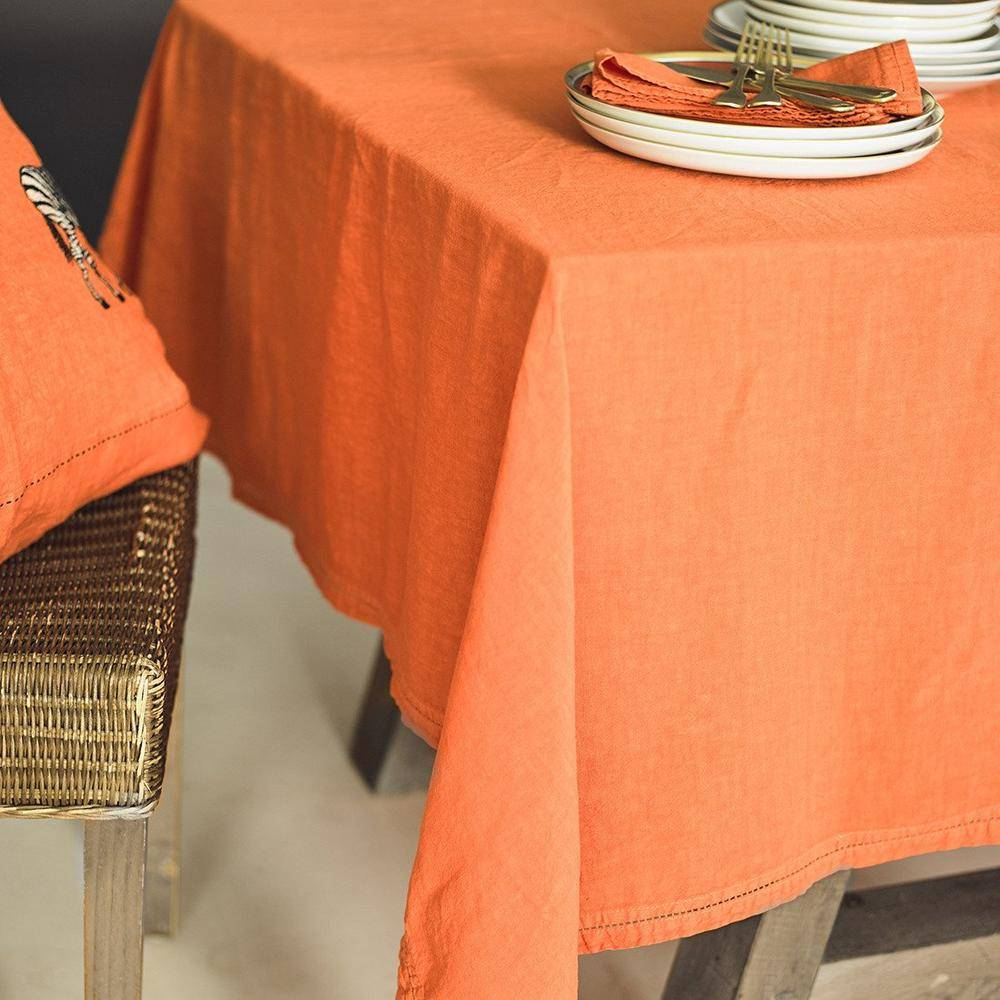 Lo de Manuela Nappe  Lin pur lavé Orange 180x300