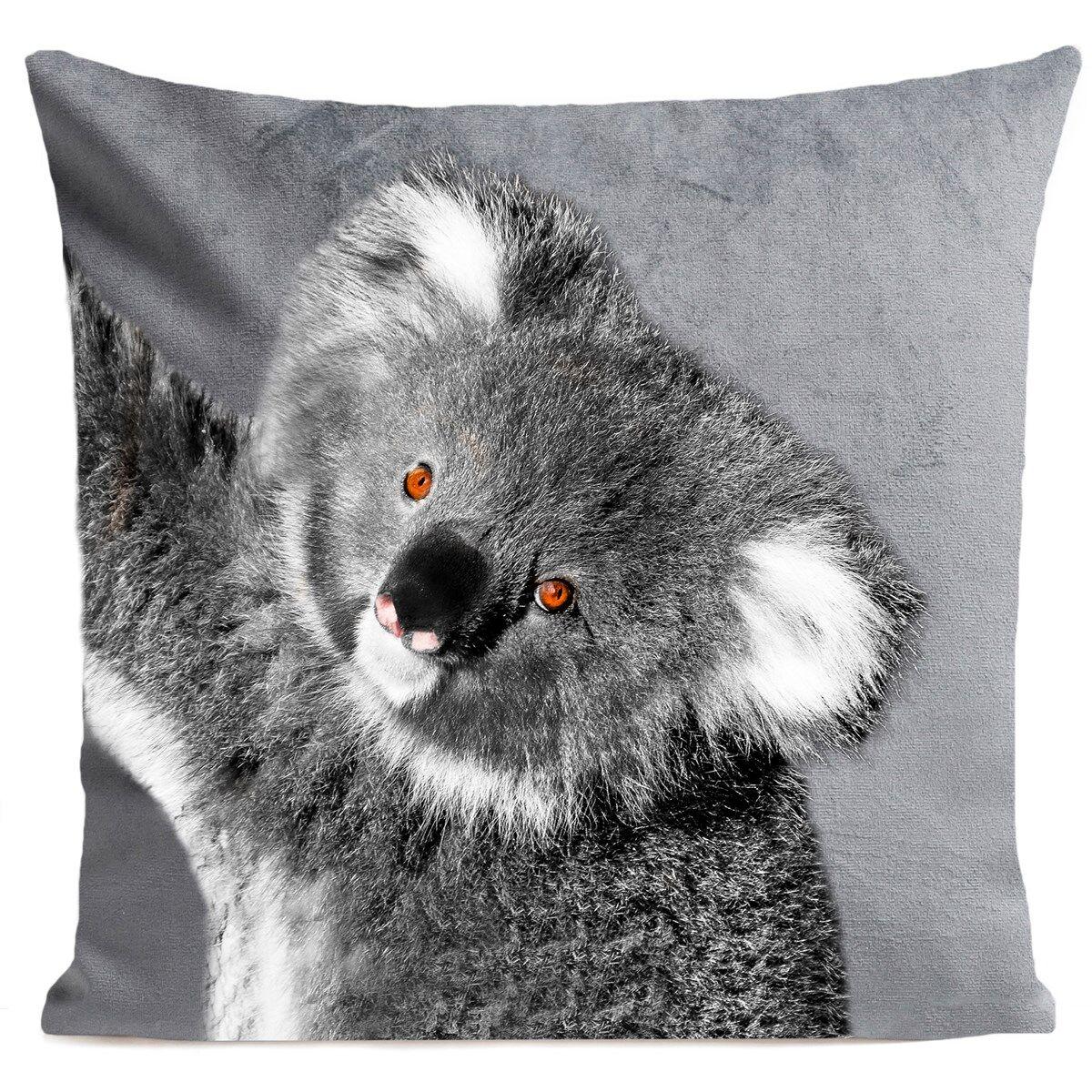 Artpilo Coussin velours carré imprimé animaux gris clair 60x60