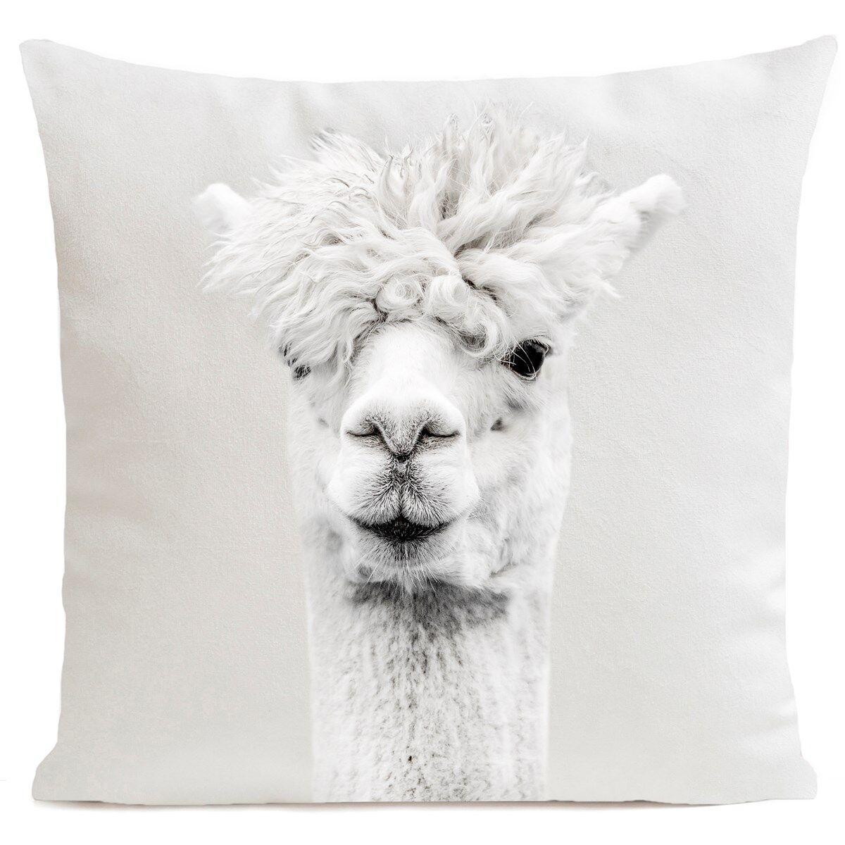 Artpilo Coussin velours carré imprimé animaux blanc 60x60
