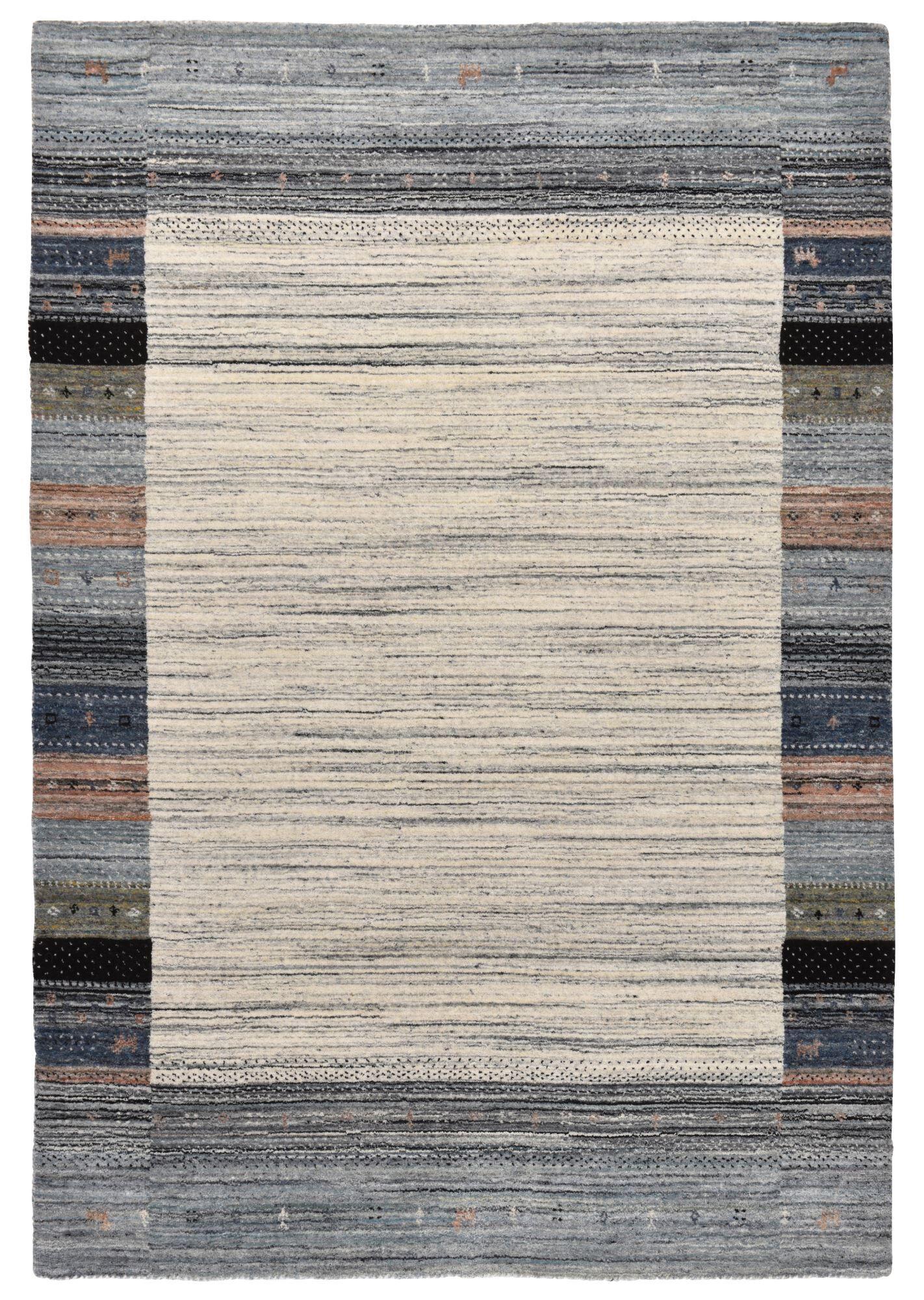 THEKO Tapis moderne en laine fait  la main Gris 70x140