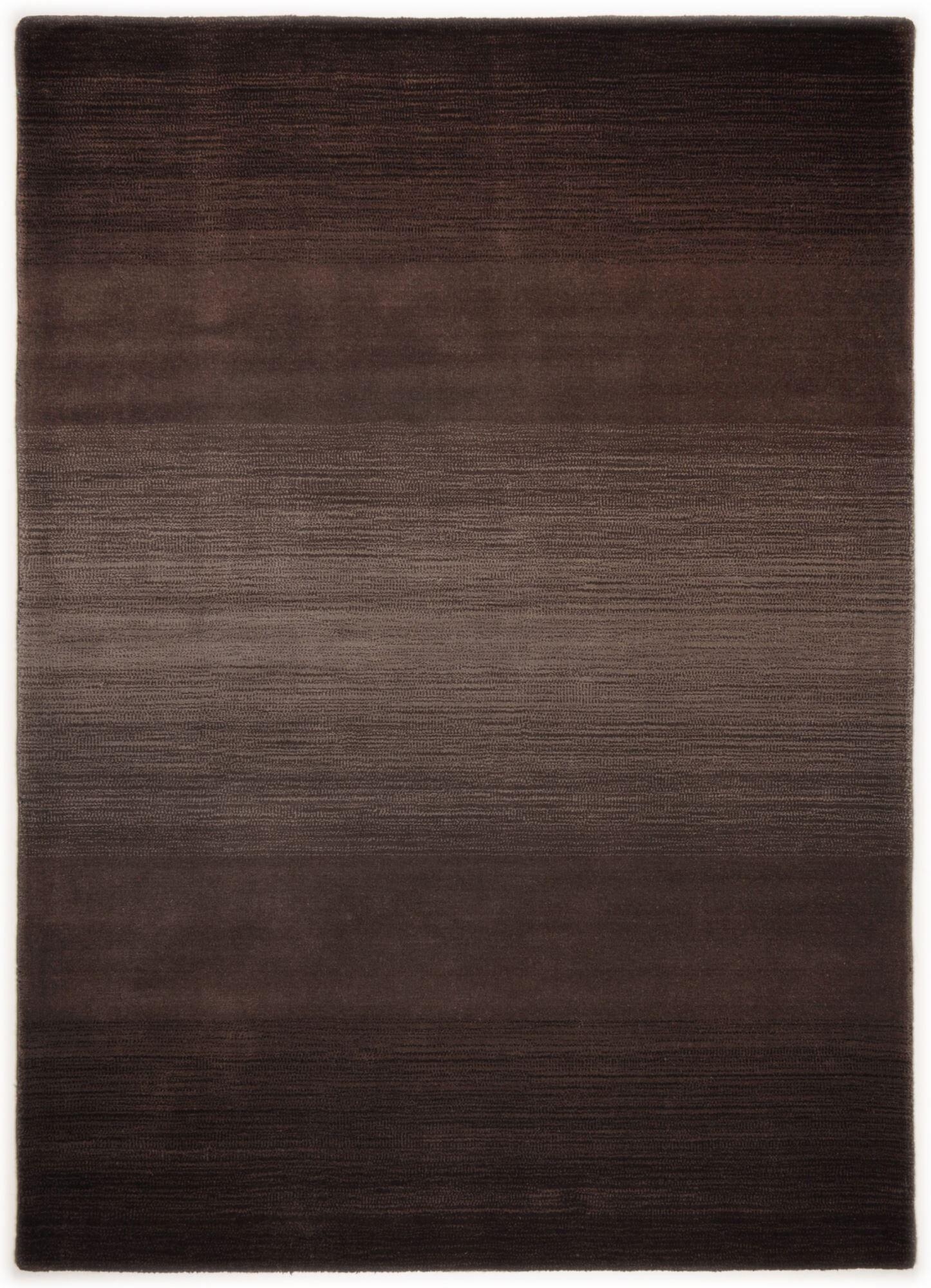 THEKO Tapis dégradé de couleur en laine Chocolat 90x160