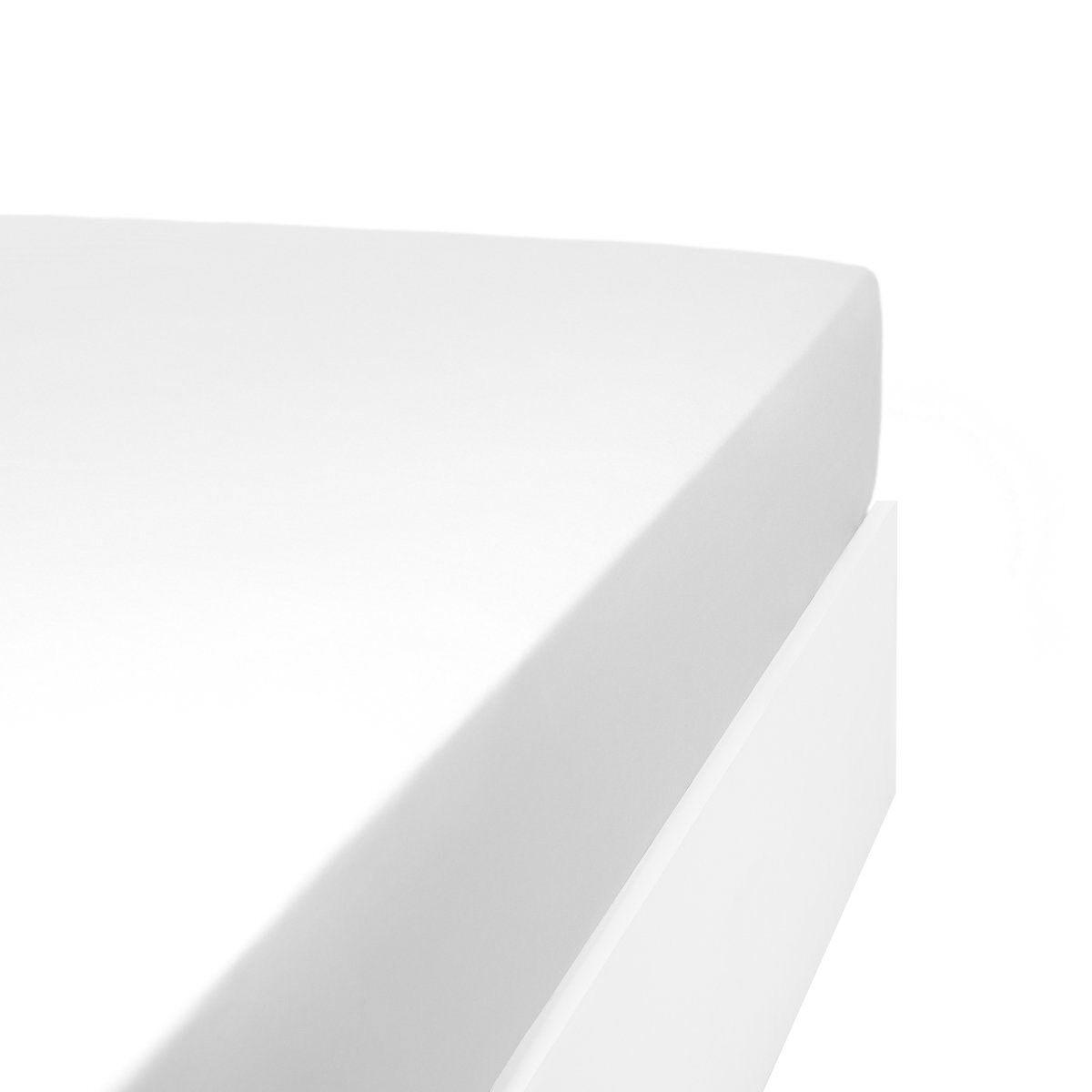 Linandelle Drap housse uni 200 fils en de coton blanc 90x200 cm