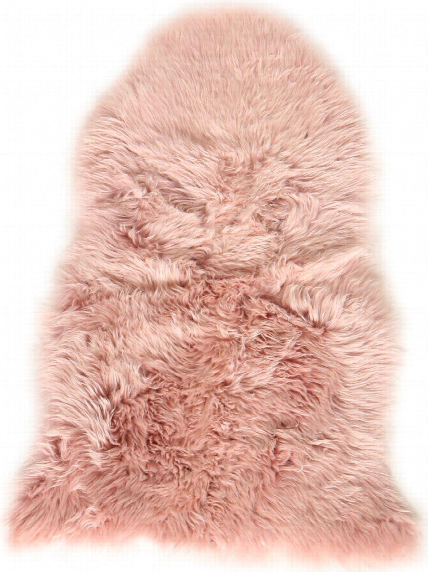 Esbeco Descente de lit peau de mouton rose 100x70