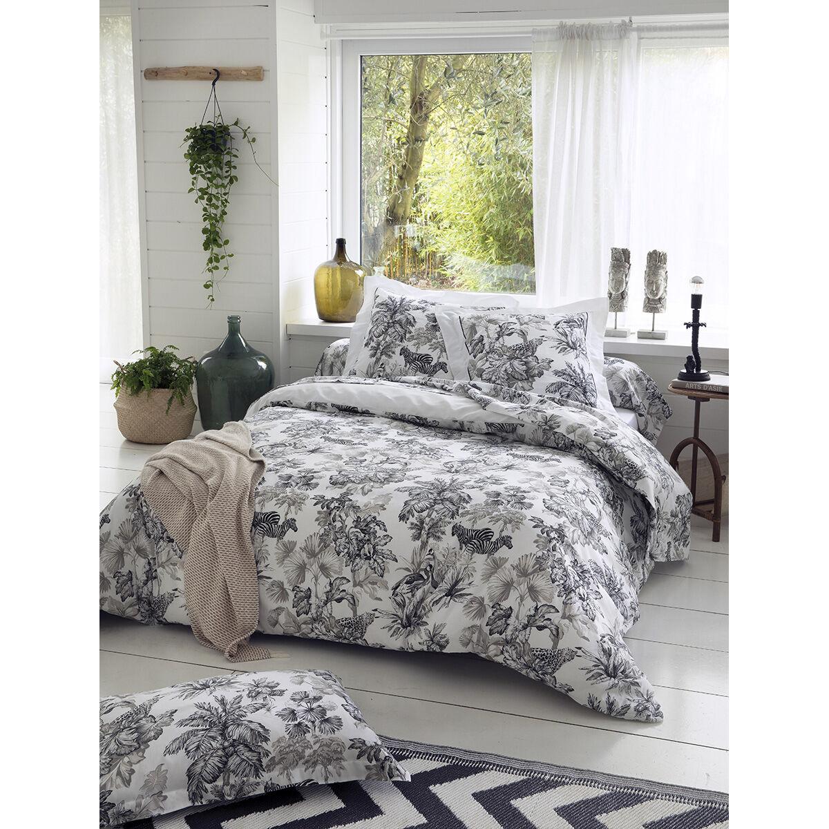 Home Maison Housse de couette esprit savane coton blanc 200x140