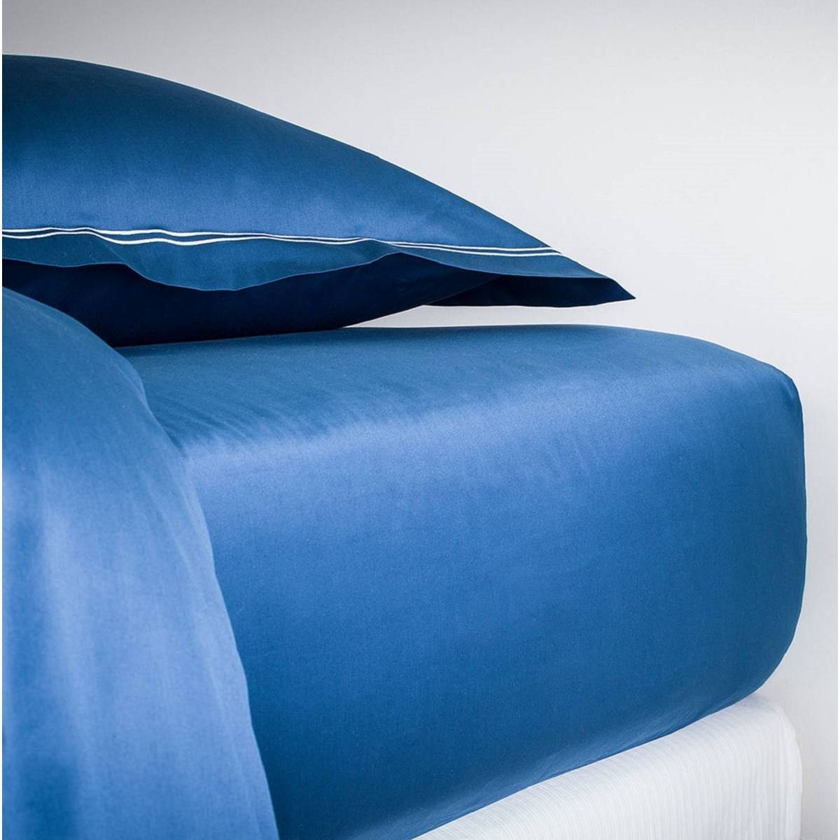 MPC Maison Drap housse luxe en Satin de coton Bleu 200x200 cm