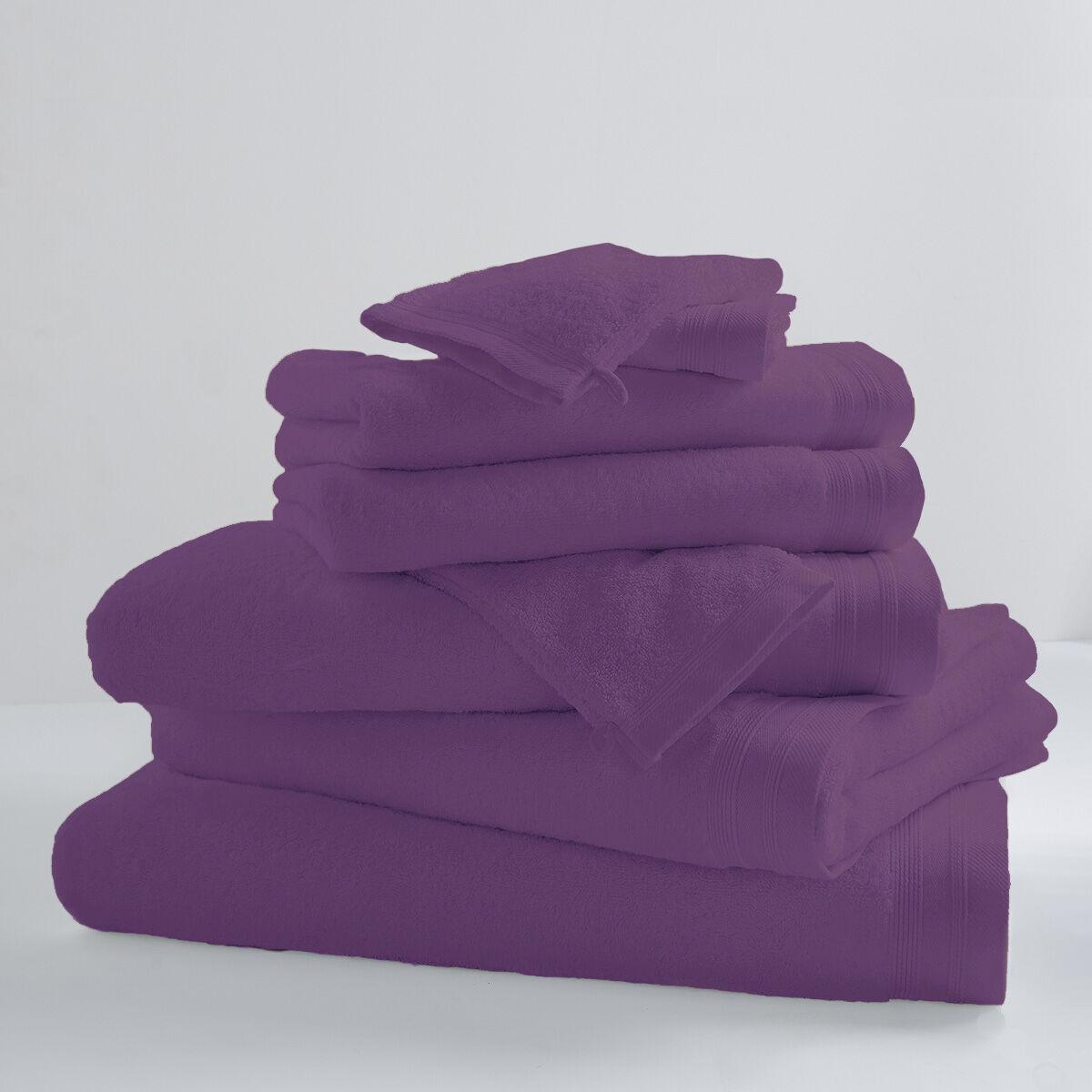 Home Bain Drap de bain uni et coloré coton violette 150x100