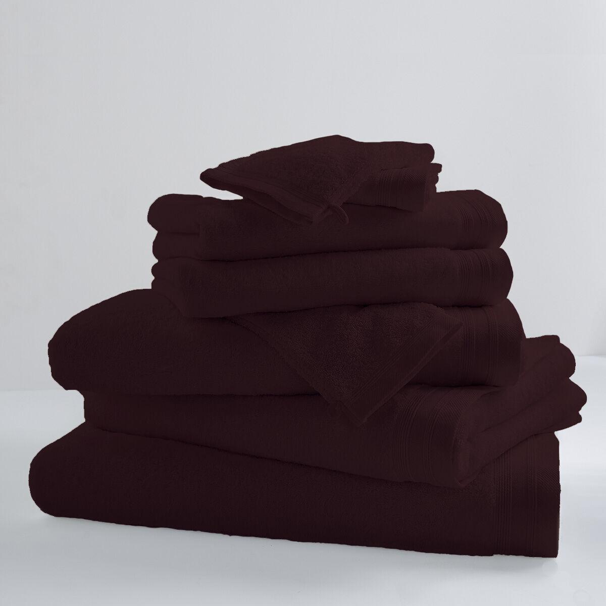 Home Bain Lot de 2 serviettes de toilette unies et colorées coton cacao 100x50