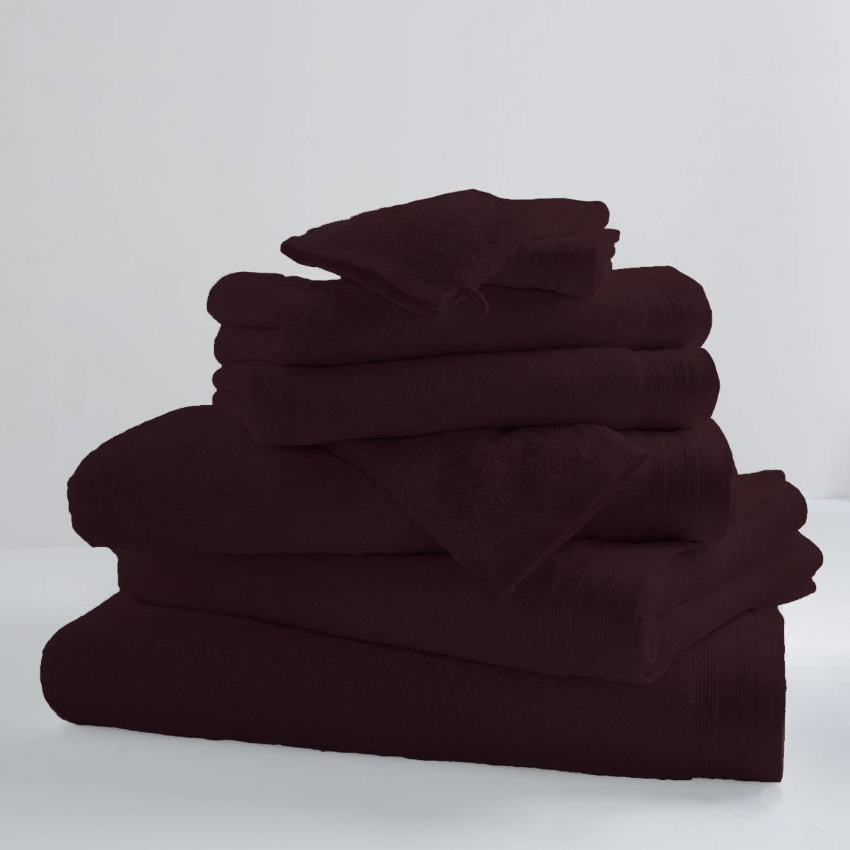 Home Bain Lot de 2 serviettes de toilette unies et colorées coton cacao 100x50