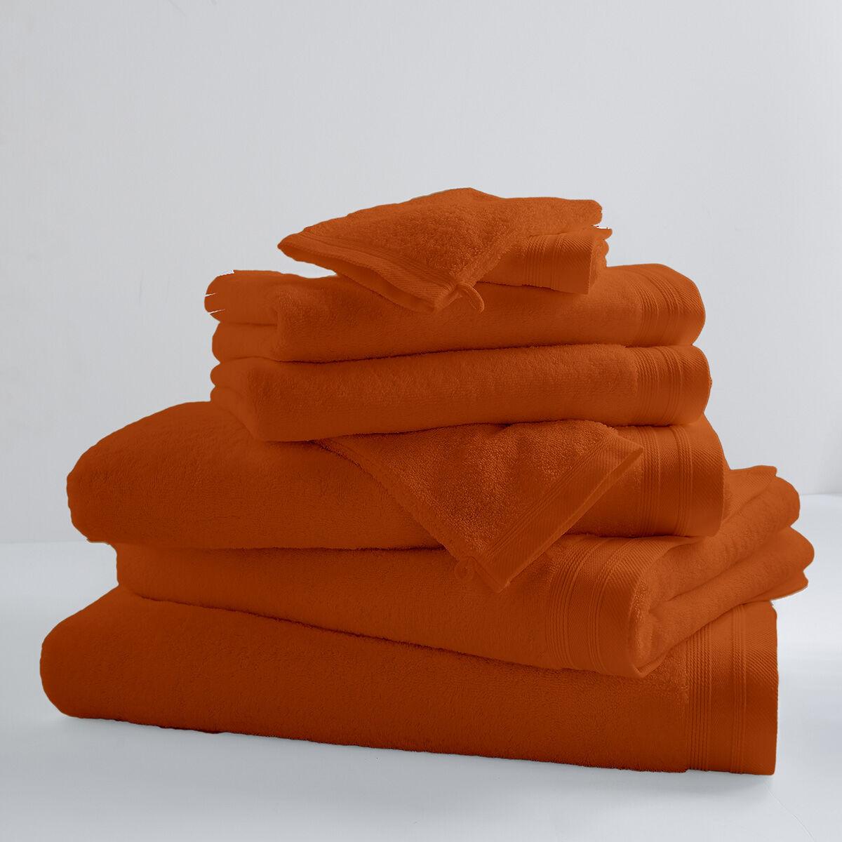 Home Bain Drap de bain uni et coloré coton papaye 150x100