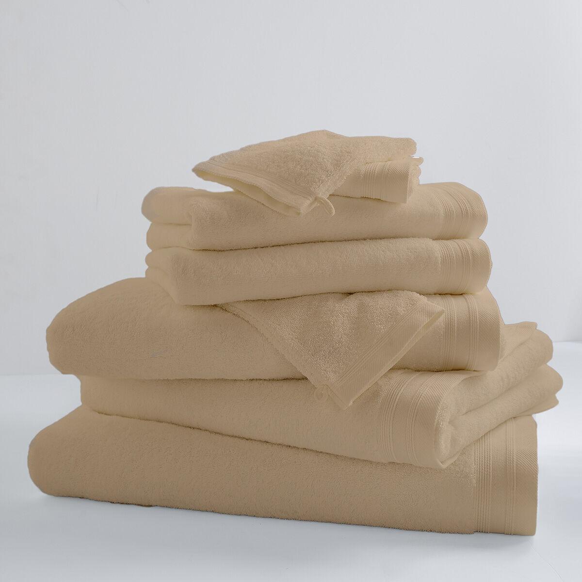 Home Bain Drap de bain uni et coloré coton beige 150x100