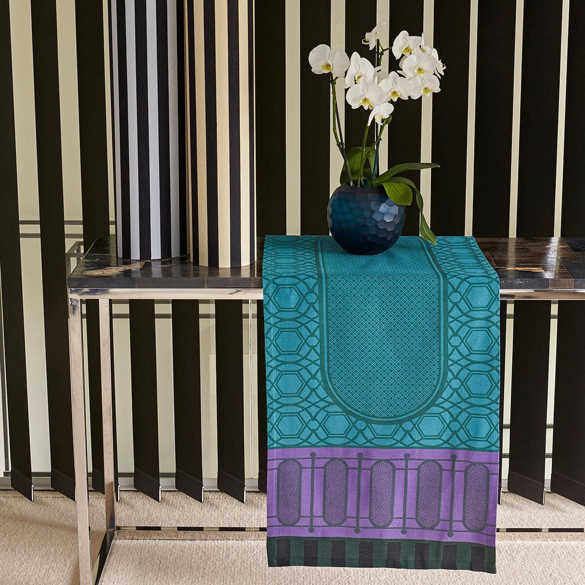 Le Jacquard Français Chemin de table en coton buis 50 x 150