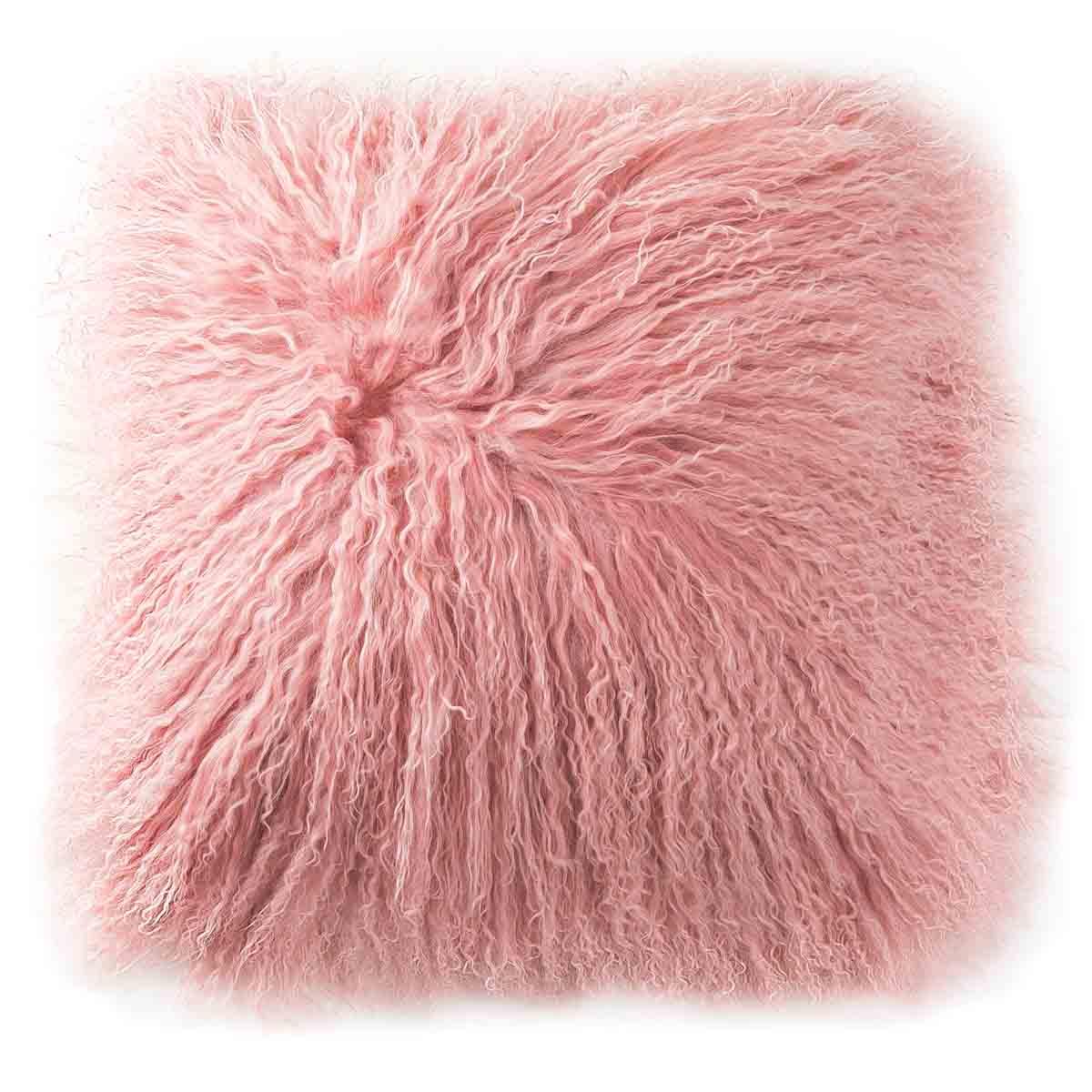 Grenier Alpin Coussin peau de mouton du Tibet 35 x 35 cm laine frisée rose poudré