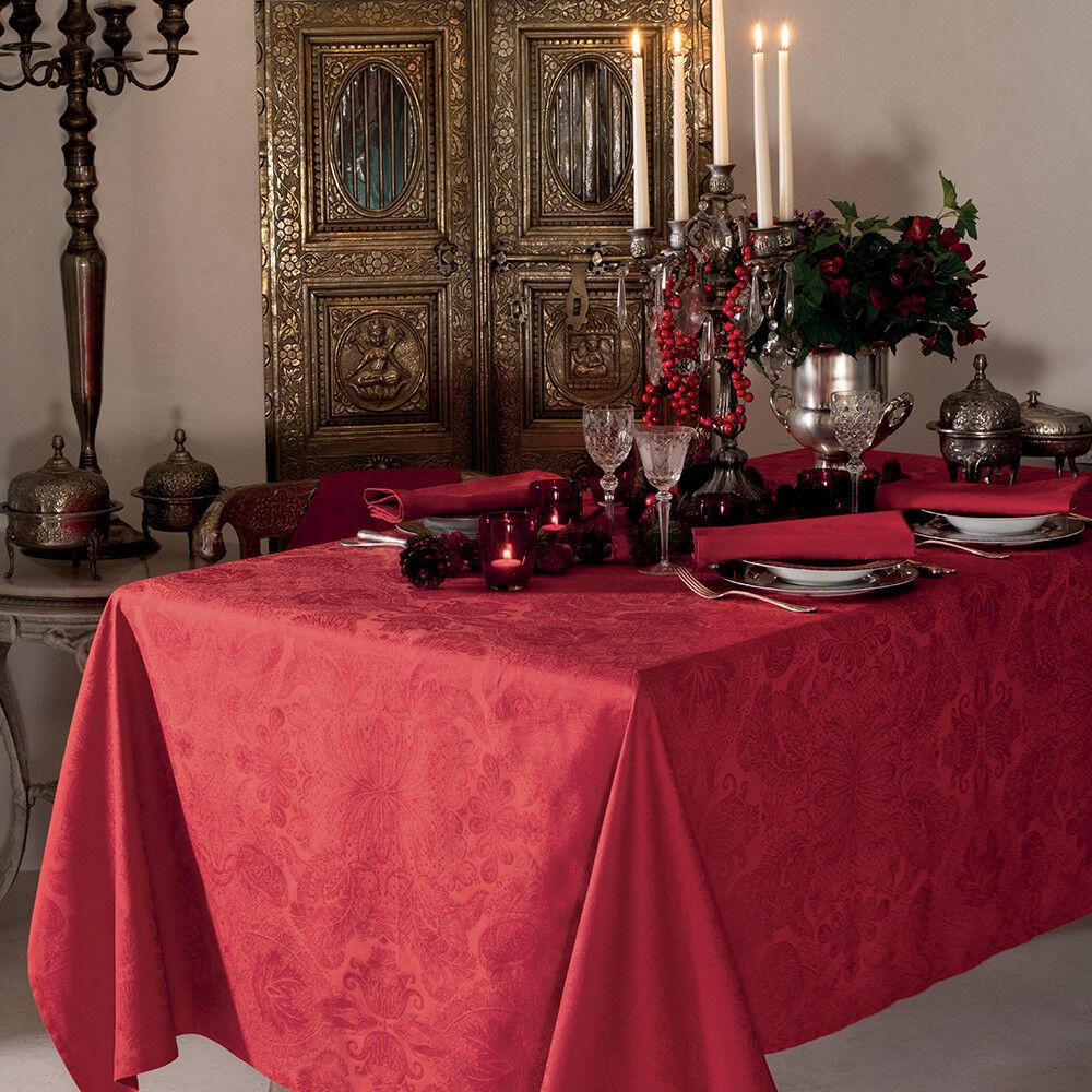 Garnier Thiebaut Nappe carrée  pur coton  Rouge 115x115
