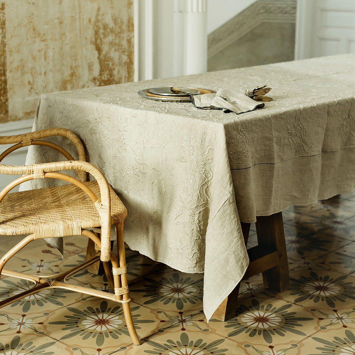 Lo de Manuela Nappe brodée lin pur lavé cachemir beige 170x250 cm