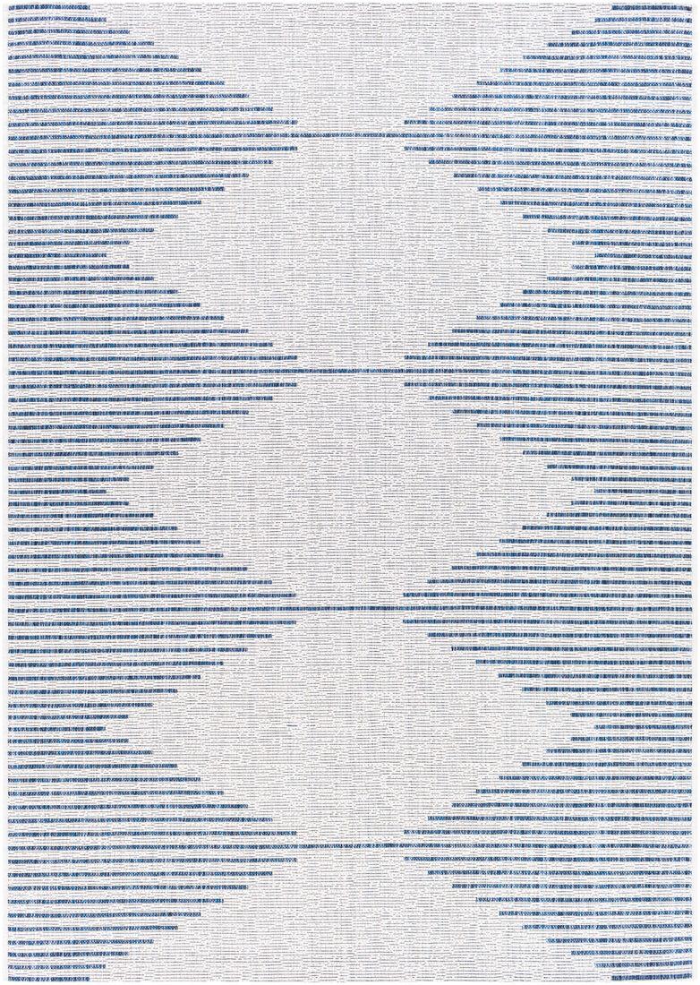 Surya Tapis intérieur/extérieur contemporain bleu et blanc 130x180