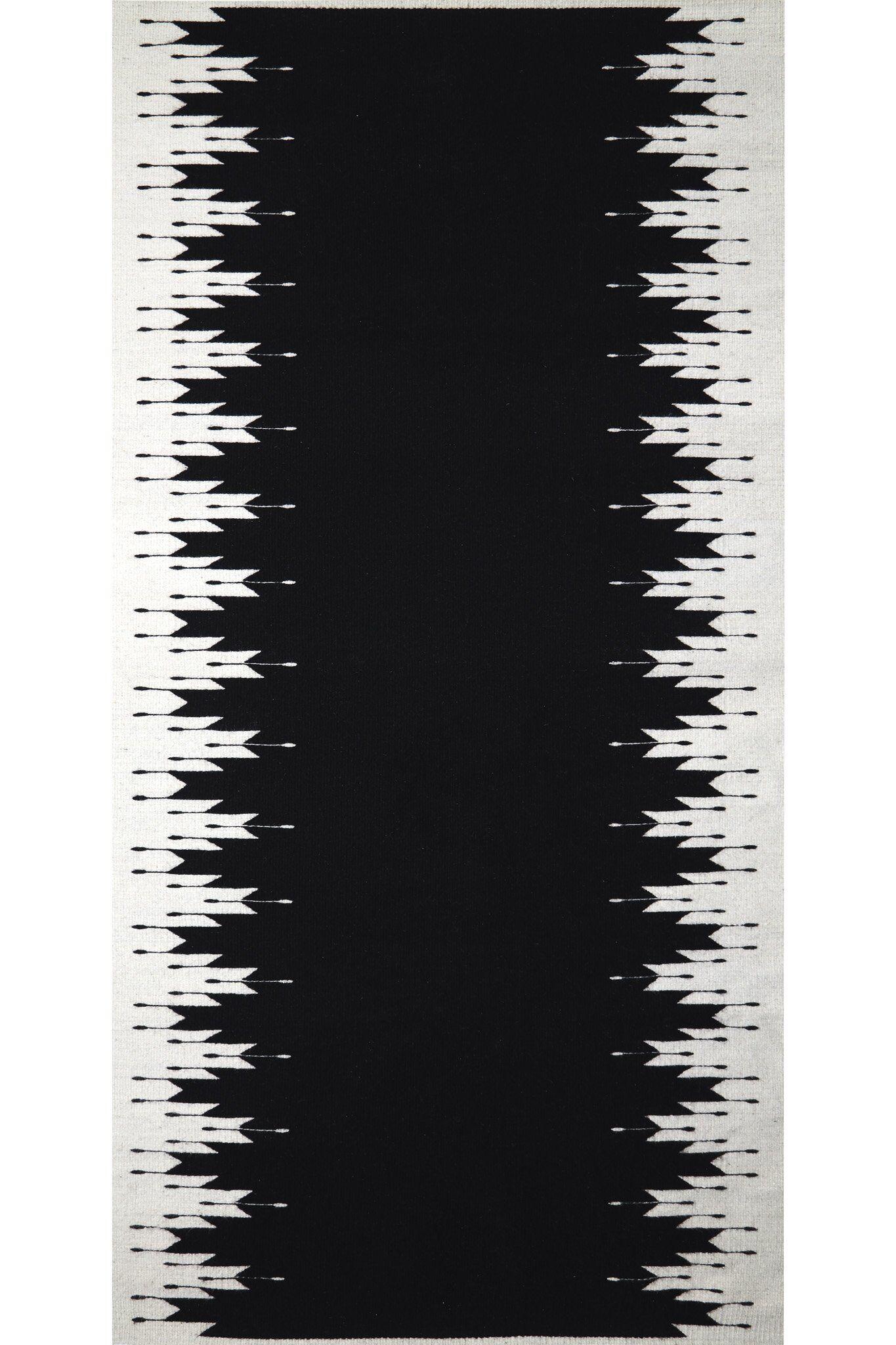 Coutume Tapis mexicain en laine et teintures naturelles noir et blanc 100x180