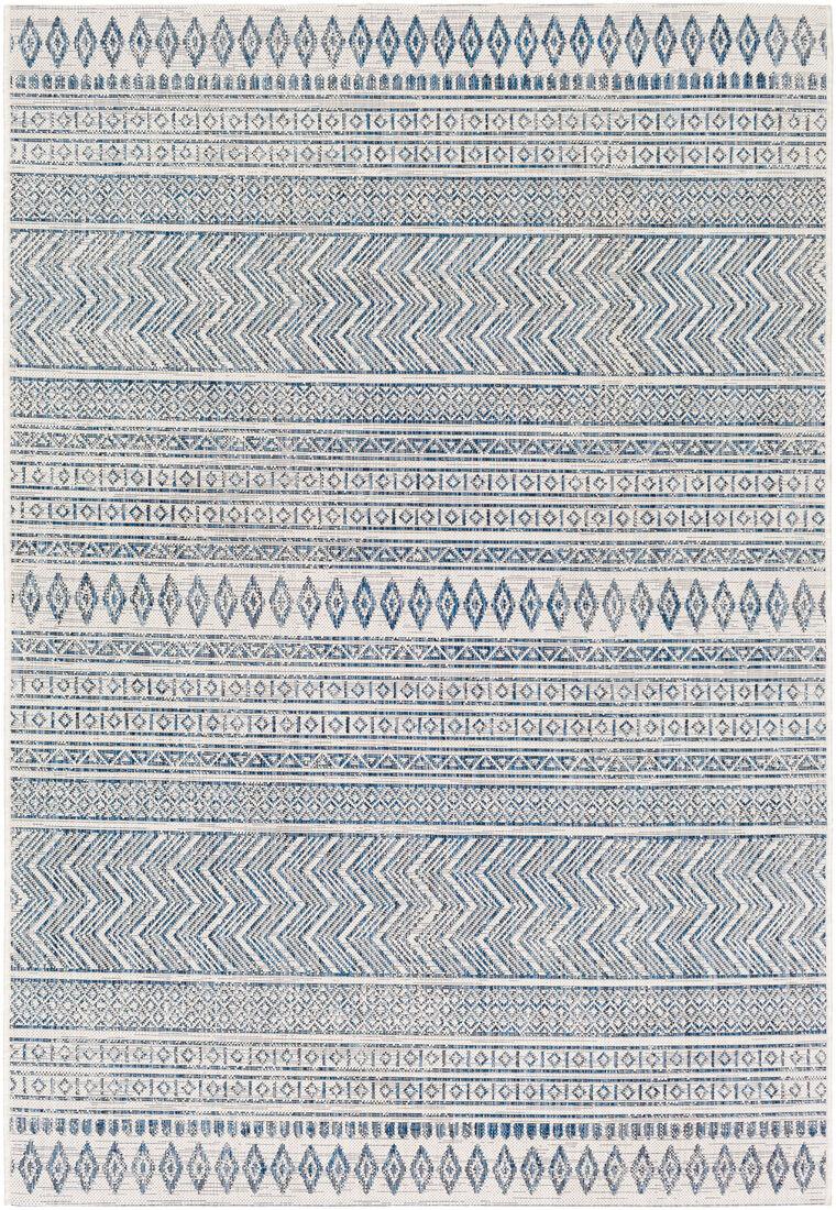 Surya Tapis intérieur/extérieur contemporain bleu marine et blanc 200x274
