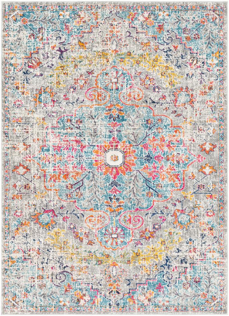Surya Tapis de salon classique multicolore gris, safran et bleu 120x170