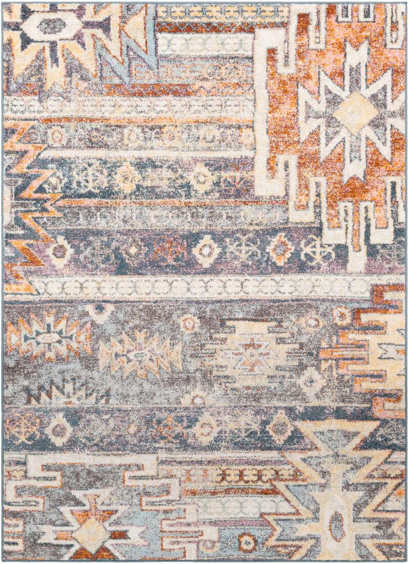 Surya Tapis de salon classique multicolore gris et orange 160x220