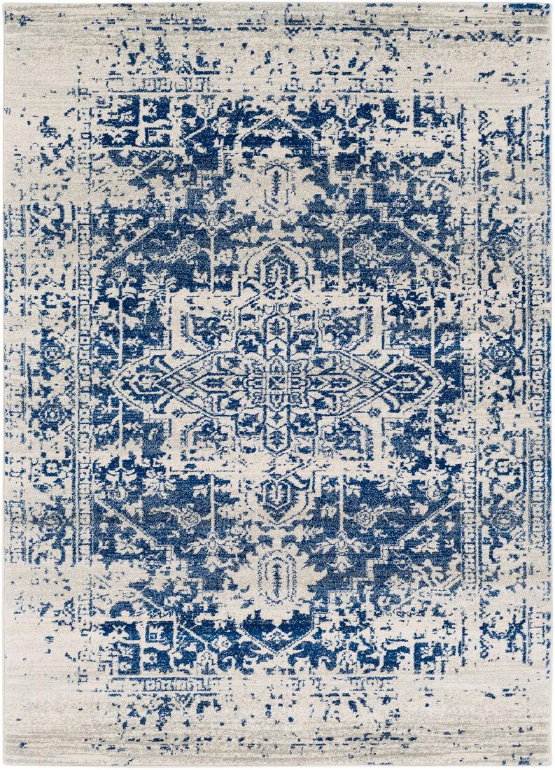 Surya Tapis de salon classique bleu et gris 160x220