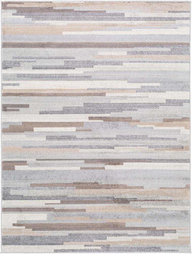 Surya Tapis de salon contemporain brun et gris 160x216