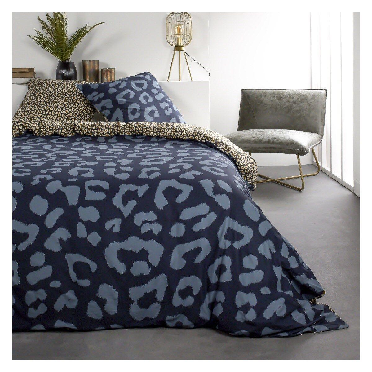 Today Parure de lit 2 personnes imprimé animal en Coton Bleu 220x240 cm