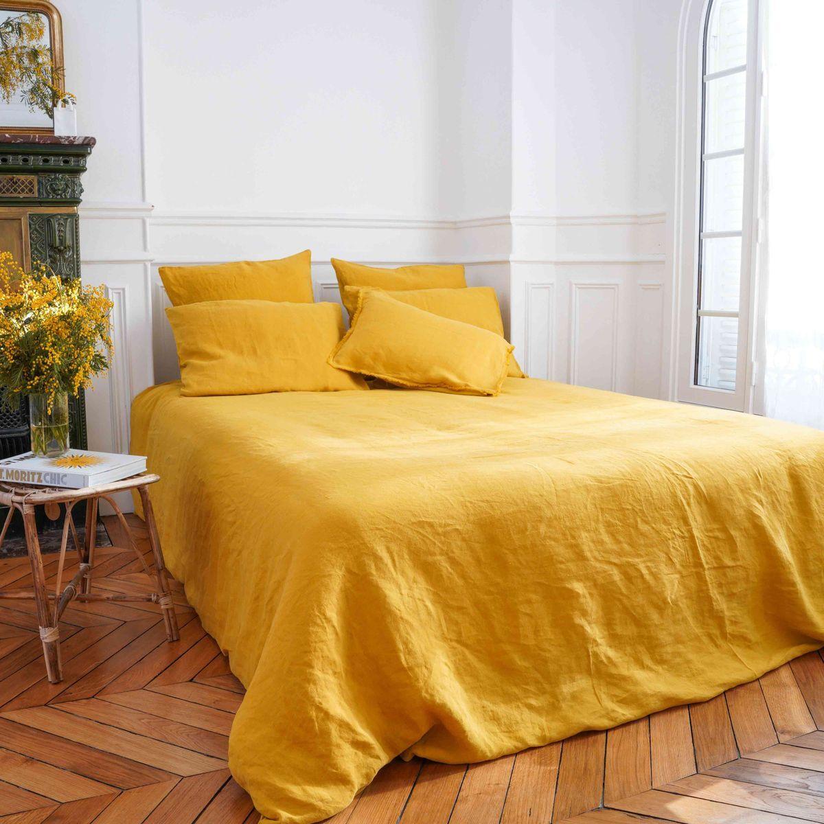 Casatera Housse de couette chanvre et coton jaune