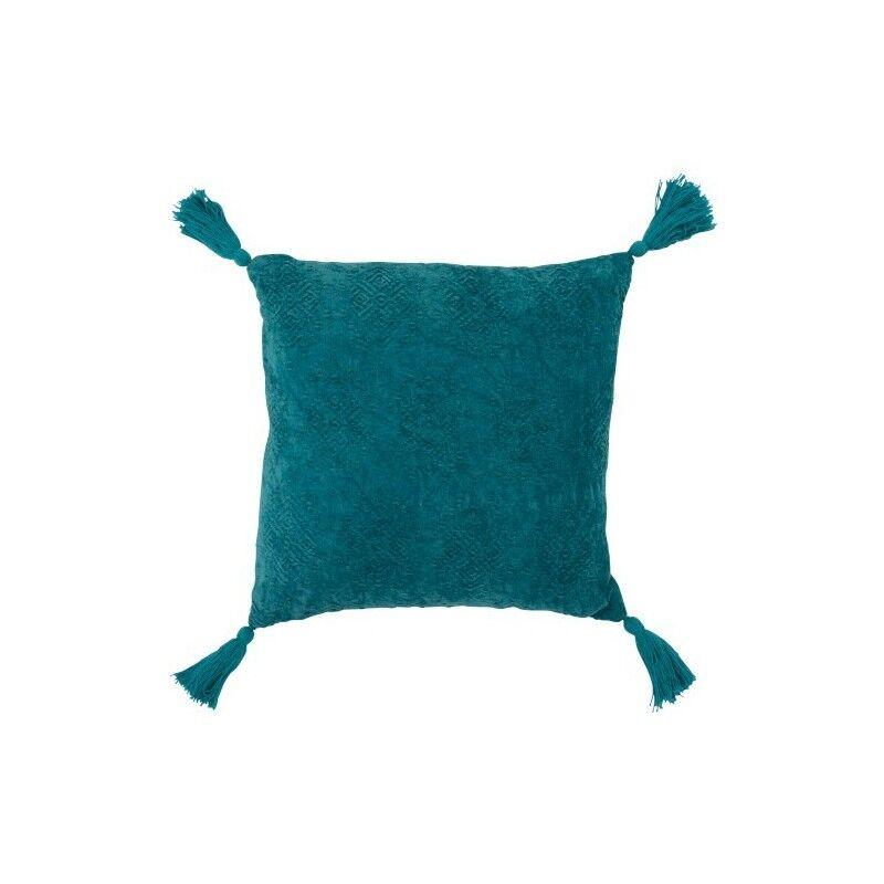 LANADECO Coussin carré coton turquoise 45x45