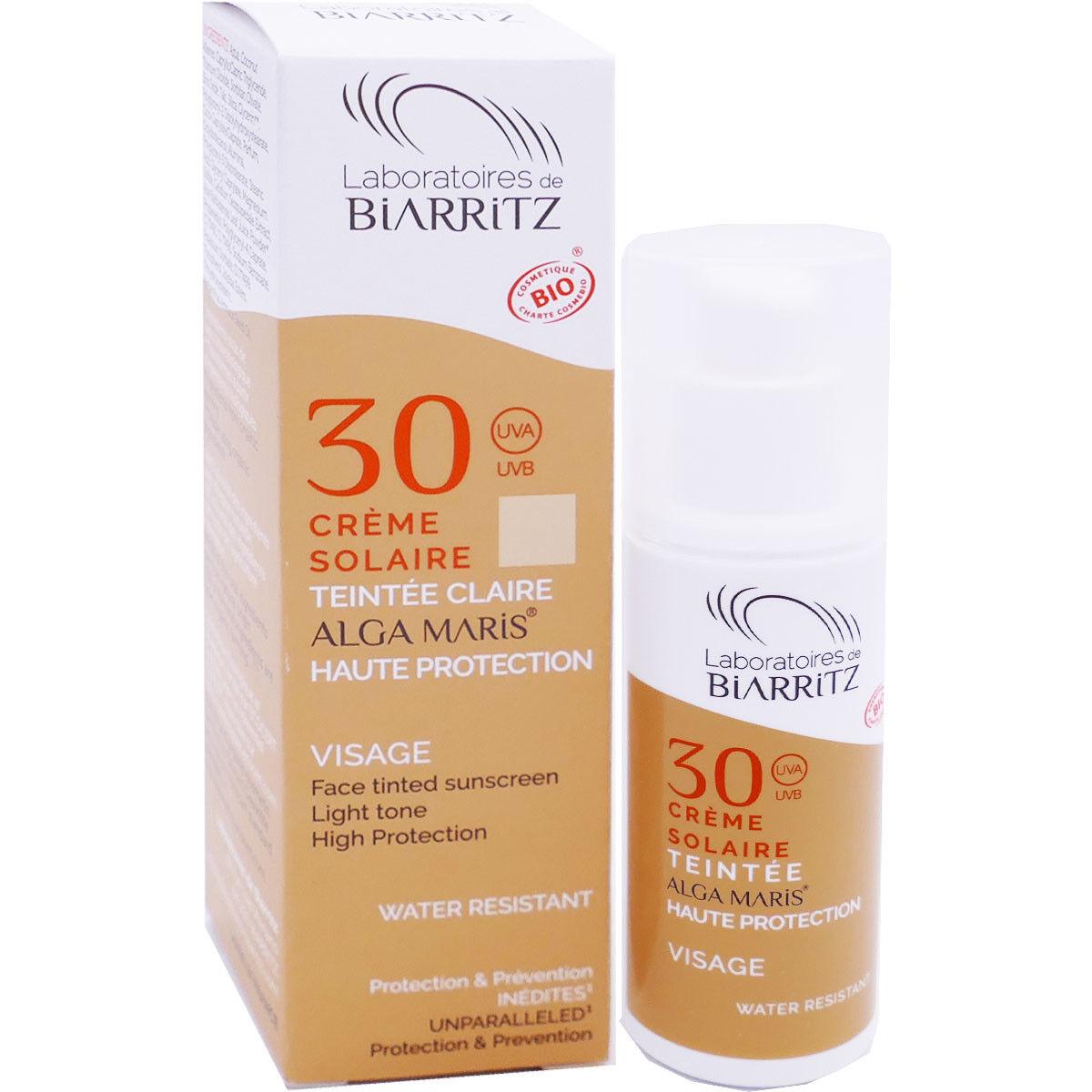 Biarritz crÈme solaire 30 teintÉe claire visage 50ml bio