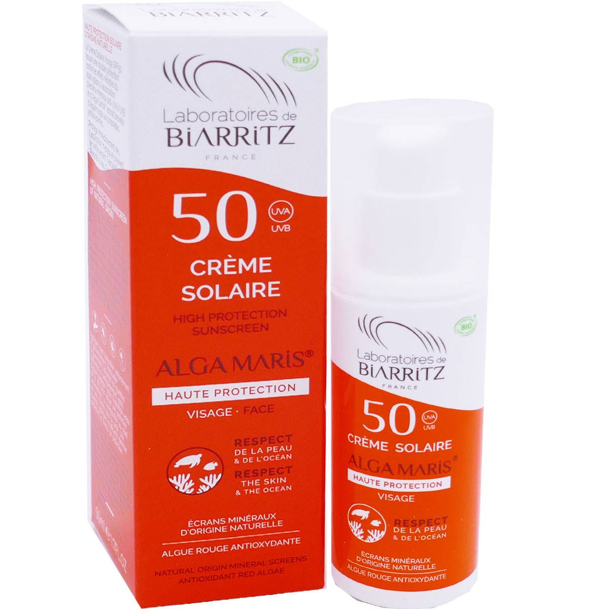 Biarritz crÈme solaire 50 alga maris 50ml bio