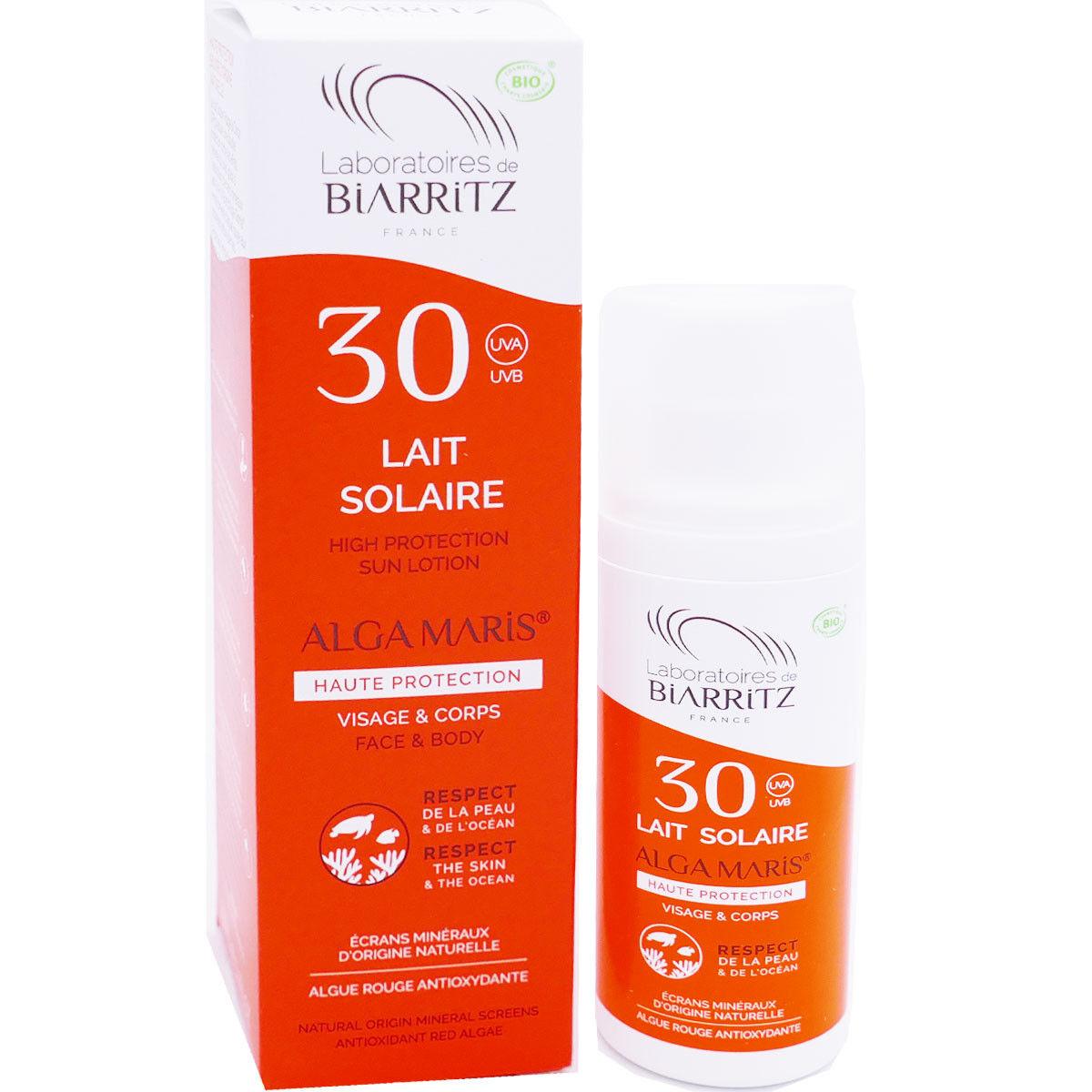 Biarritz lait solaire 30 alga maris 100 ml bio