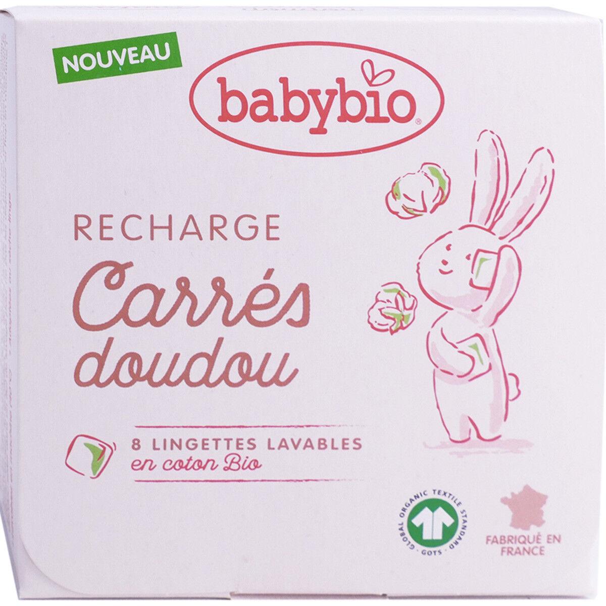 Babybio recharge carres doudou 8 lingettes lavables