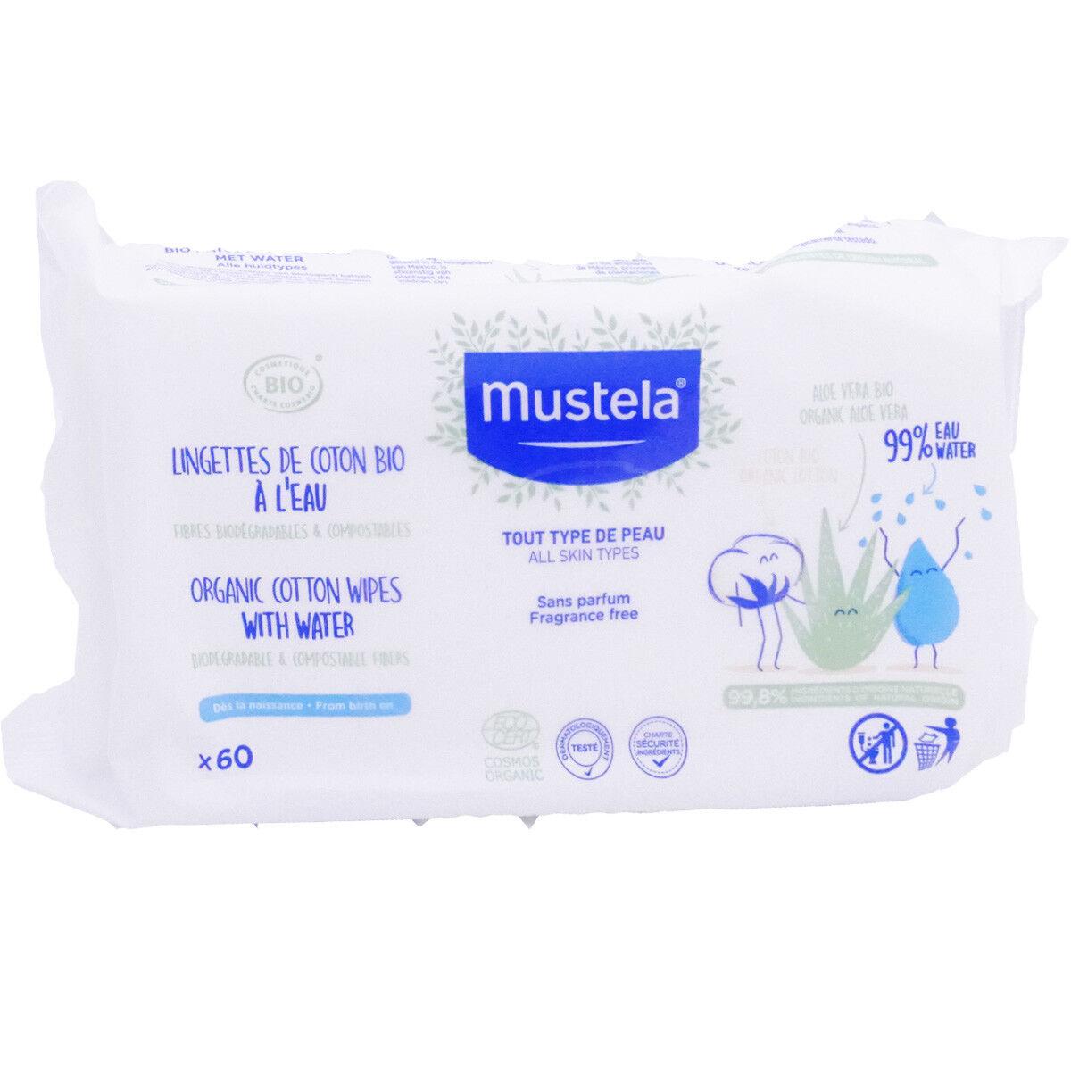 Mustela lingettes coton  x60 bio