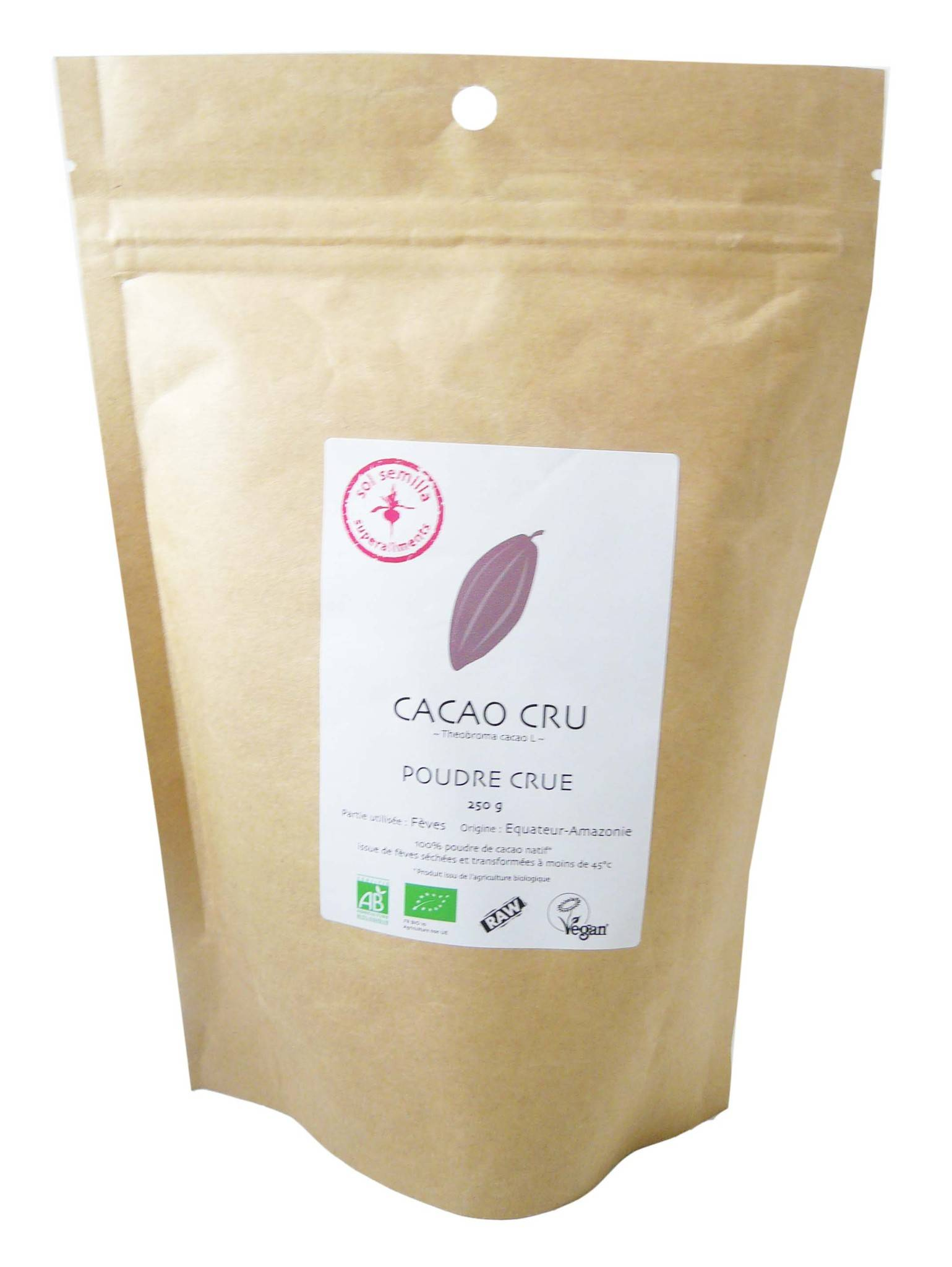 Sol semilla cacao cru bio 250g