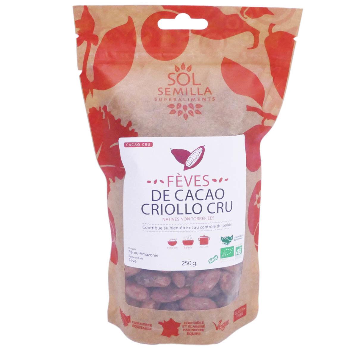 Sol semilla cacao cru bio feves 250g