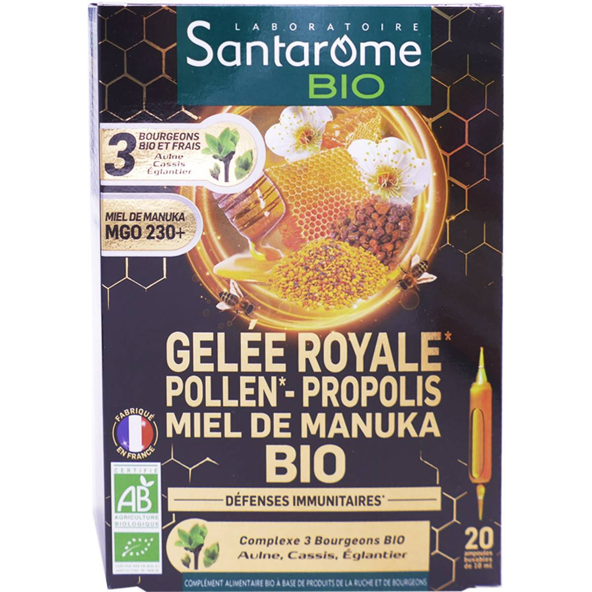 Santarome bio gelee royale pollen propolis miel de de manuka bio 20 ampoules