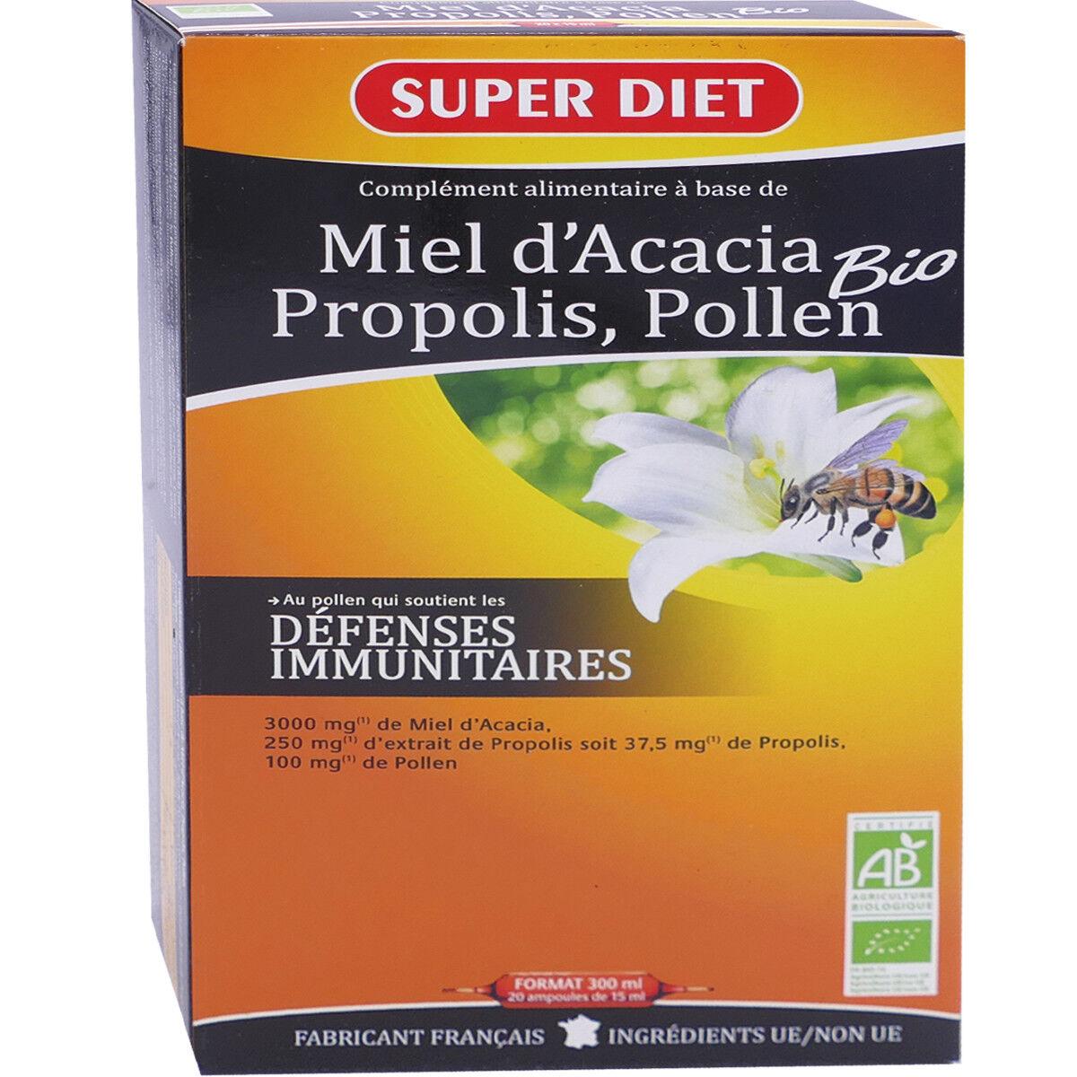 SUPER DIET Superdiet miel d'acacia propolis pollen bio 20 ampoules de 15 ml