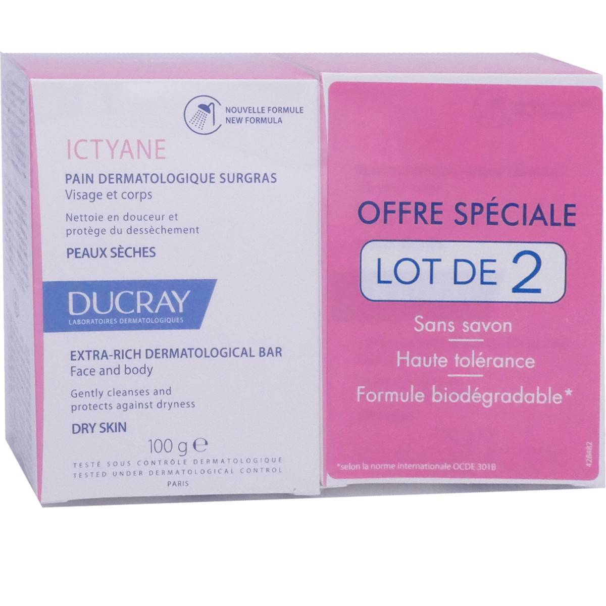 Ducray pain dermatologique surgras 2x100g